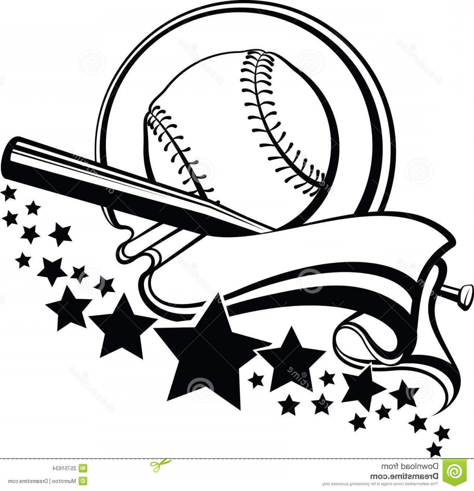 Softball Laces Vector Art B W: Stock Images Baseball Softball Pennant Stars Design Image