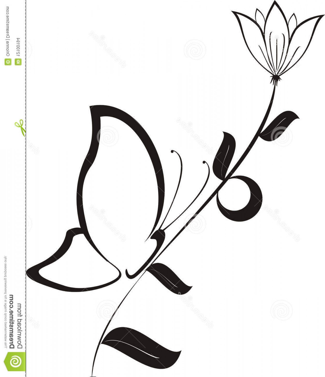 Butter Fly And Flower Vector Black And White: Stock Images Black Flower Butterfly Vector Image