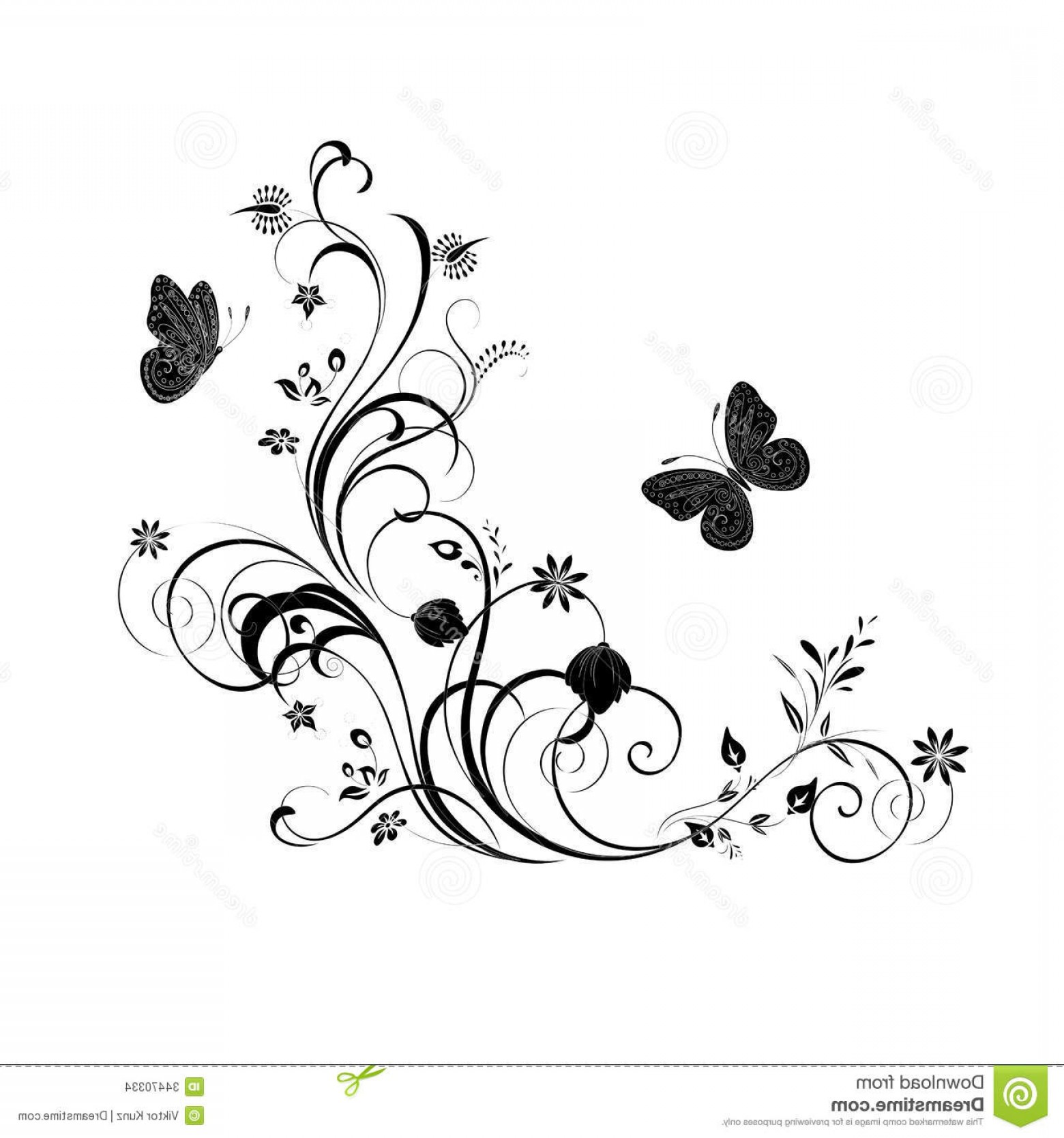 Butter Fly And Flower Vector Black And White: Stock Images Decorative Ornament Vector Floral Butterfly Element Design Image