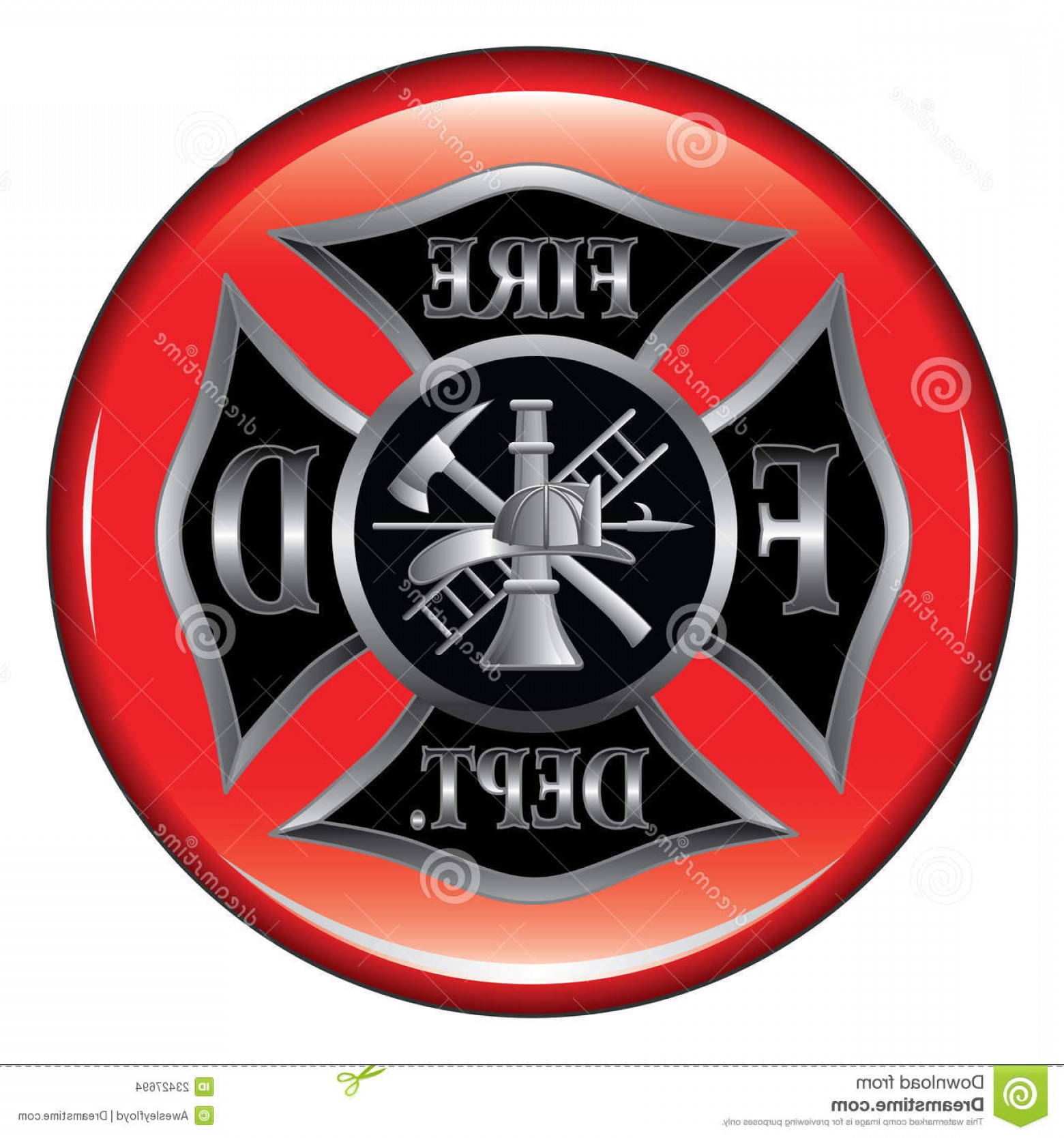 Fire Maltese Vector: Stock Images Fire Department Maltese Cross Button Image