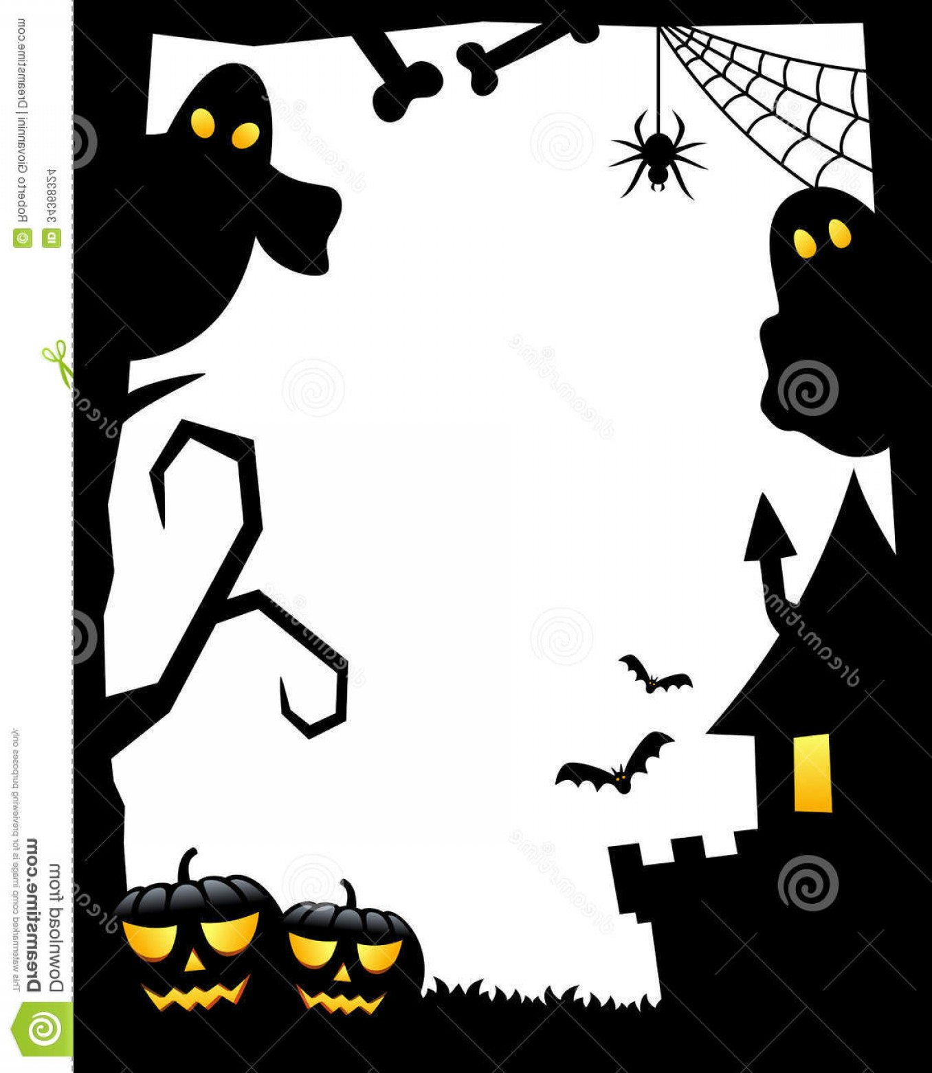 Halloween Haunted House Silhouette Vector: Stock Images Halloween Silhouette Frame Vertical White Background Scary Elements Bats Flying Ghosts Haunted House Spider Bones Image