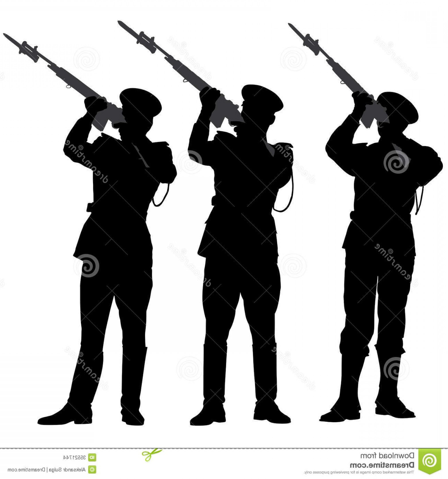 Color Guard Silhouette Vector: Stock Images Honor Guard Silhouette Fire Volley Remembrance White Background Image