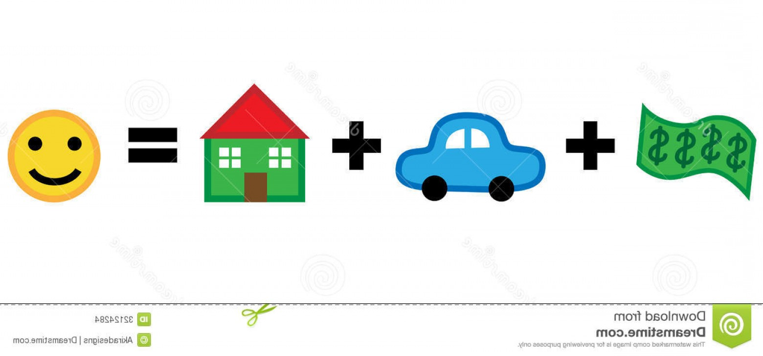 Equal Housing Vector: Stock Images Money Car House Equals Happiness Cartoon Vector Illustration Equation Modern Lifestyle Image
