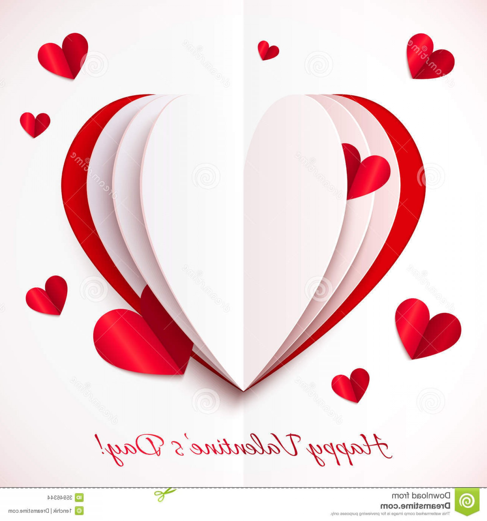 Heart Card Vector: Stock Images Red White Cutout Paper Vector Heart Greeting Card Template Image