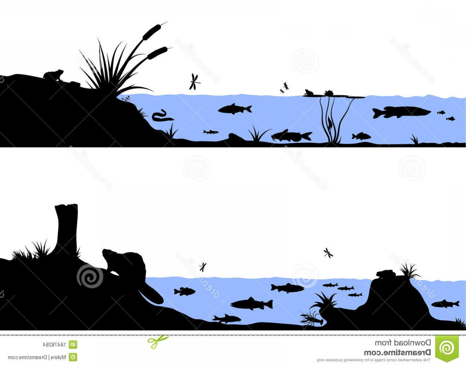 River Silhouette Vector Art: Stock Images River Life Vector Silhouette Illustration Image