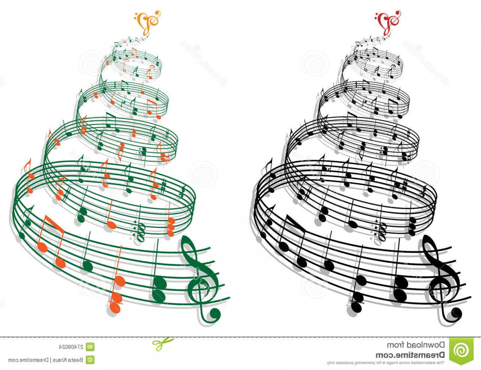 Swirly Christmas Tree Vector: Stock Images Tree Music Notes Vector Image