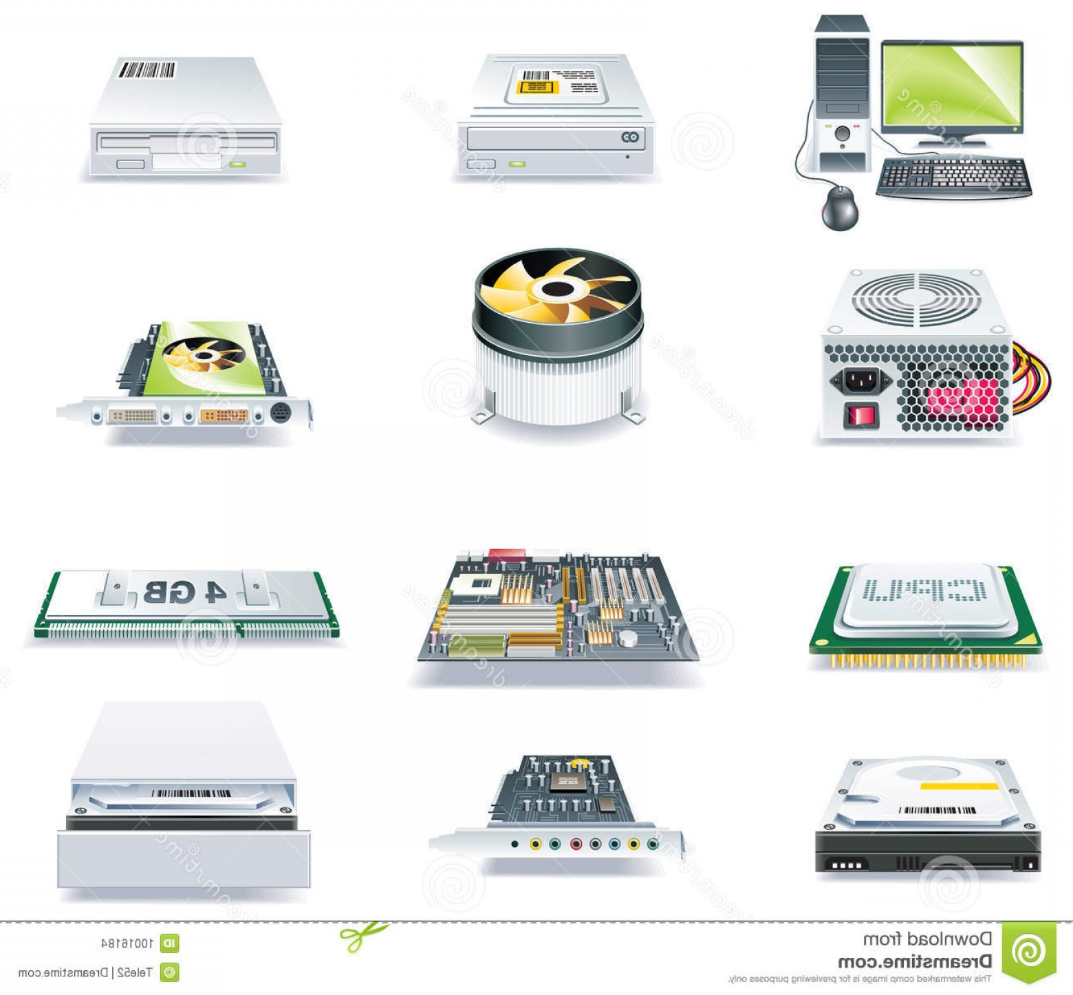 Vector Travel Cooler Parts: Stock Images Vector Detailed Computer Parts Icon Set Part Image