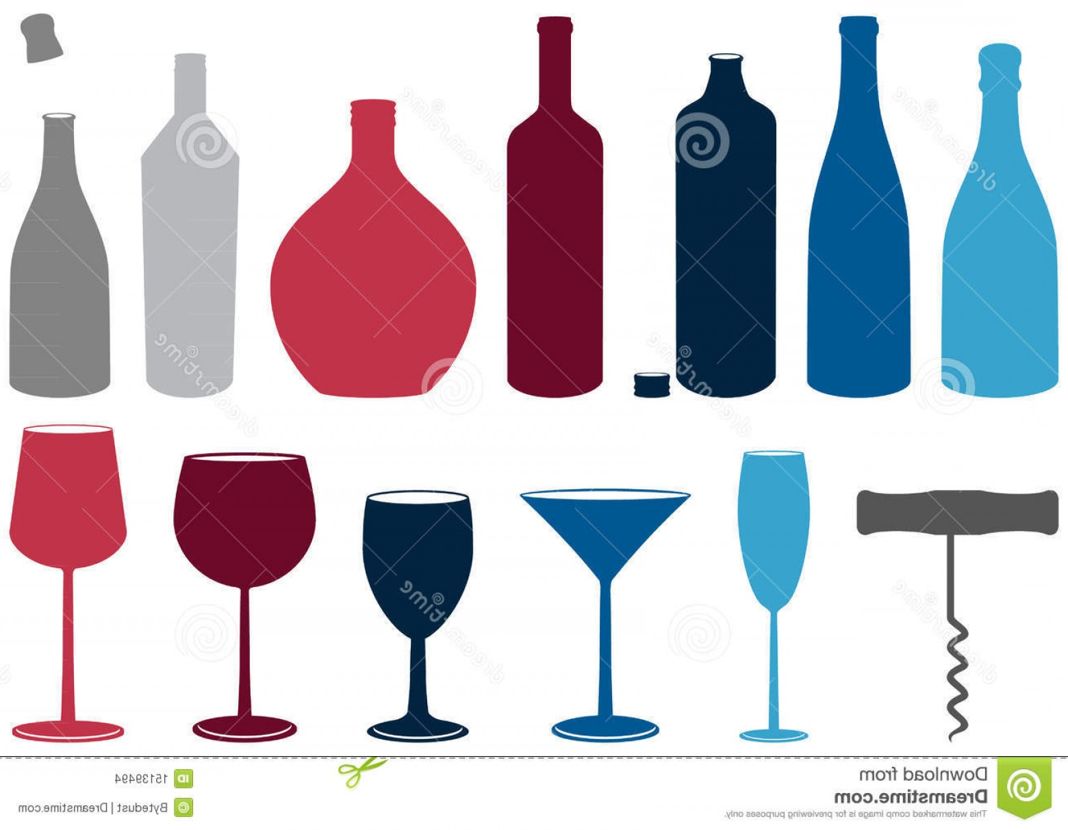 Booze Bottle Vector: Stock Images Vector Set Liquor Bottles Glasses Corkscrew Image