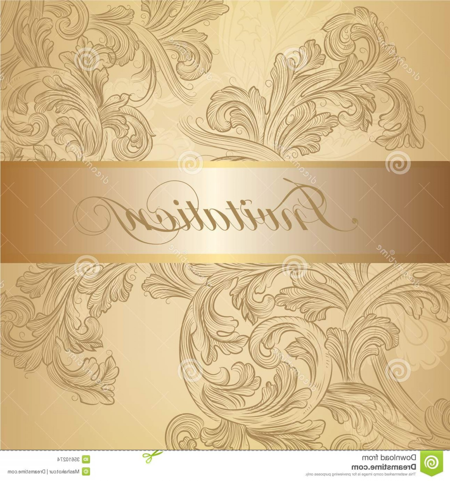Gold Wedding Swirl Vector: Stock Images Vector Swirl Invitation Card Golden Color Elegant Classic Wedding Menu Retro Image