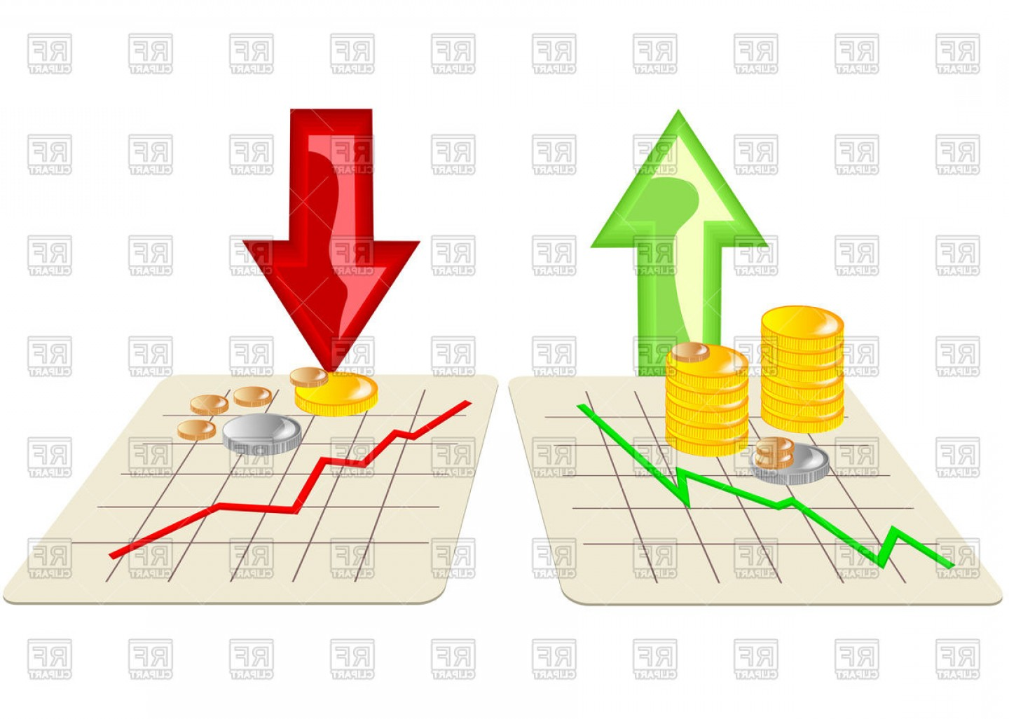 Stock Vector Graphics: Stock Market Graph Icons With Arrows Vector Clipart