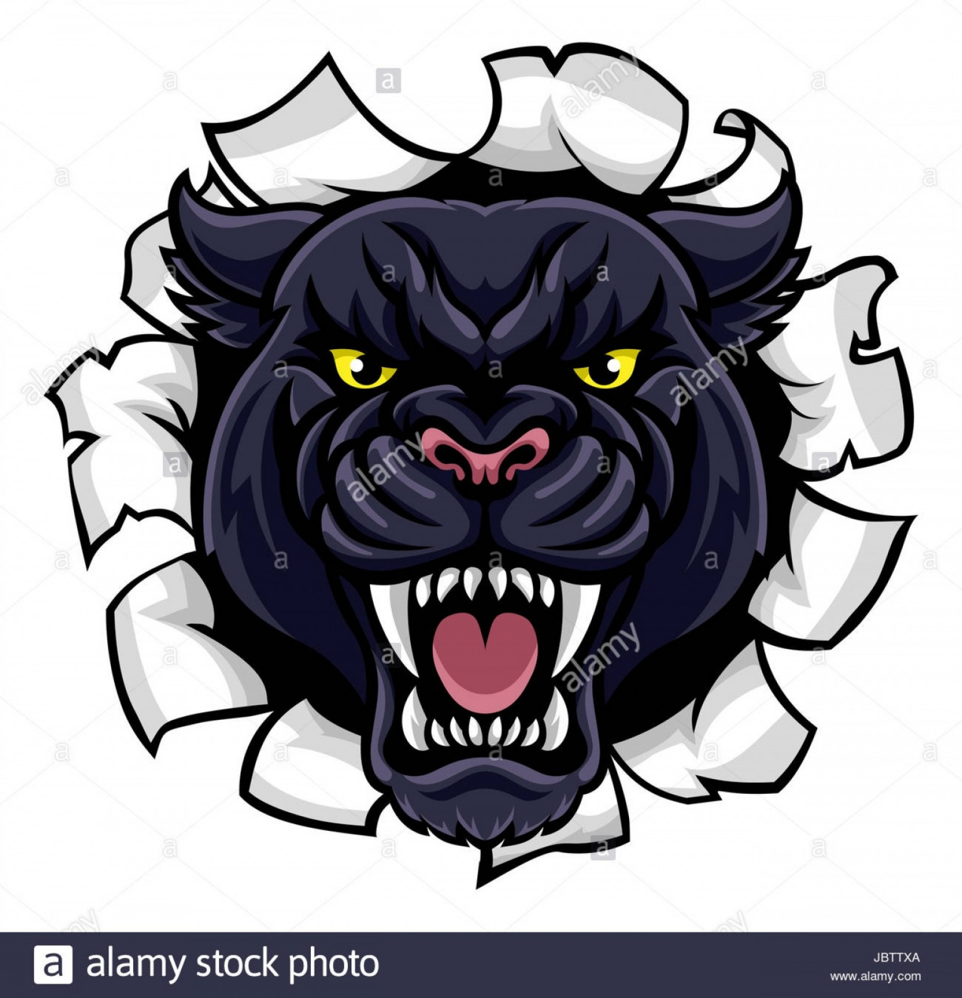 Panther Mascot Vector Sports: Stock Photo A Black Panther Angry Animal Sports Mascot Breaking Through The Background