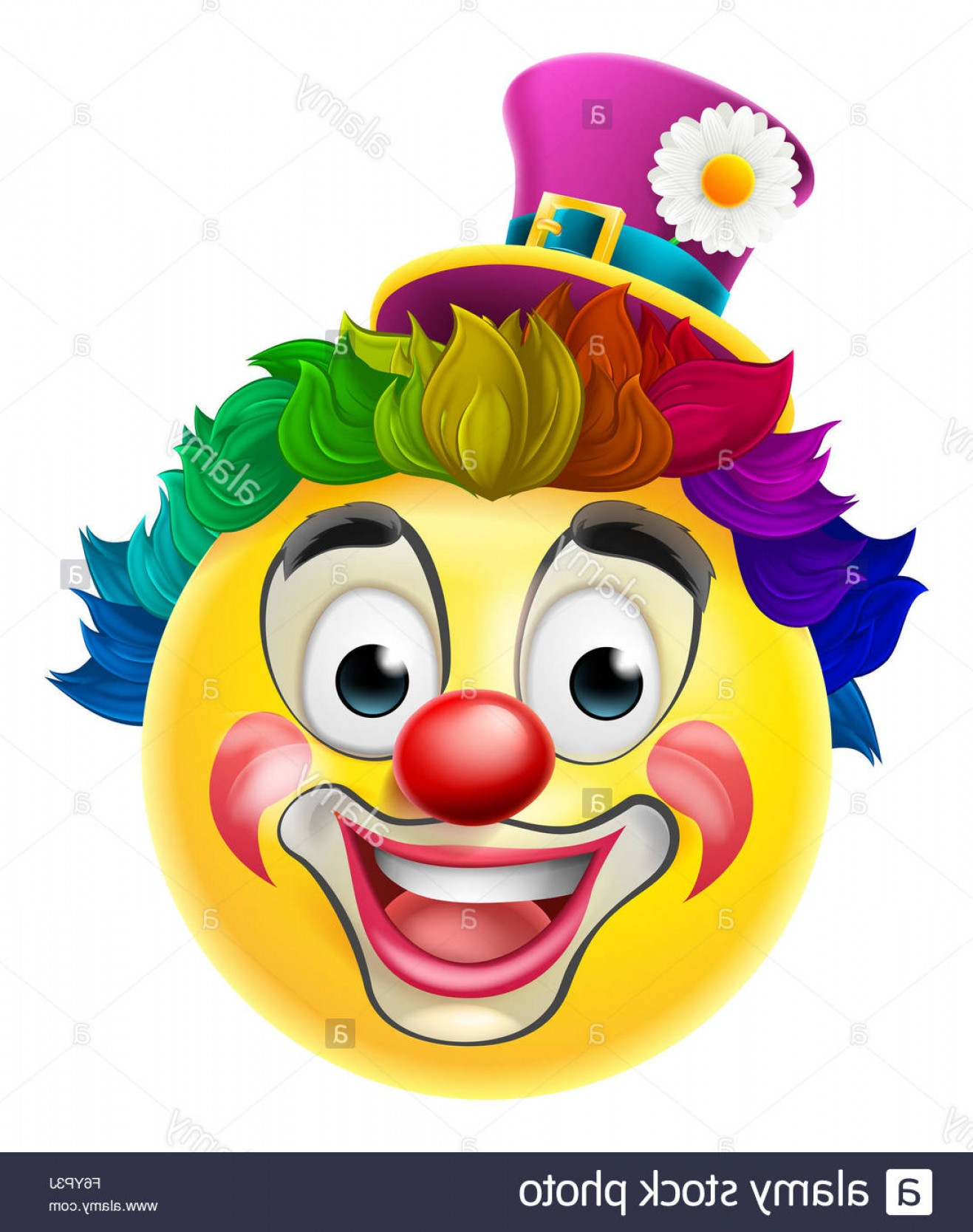 Rainbow Face Emoji Vector: Stock Photo A Clown Cartoon Emoji Emoticon Smiley Face Character With A Red Nose