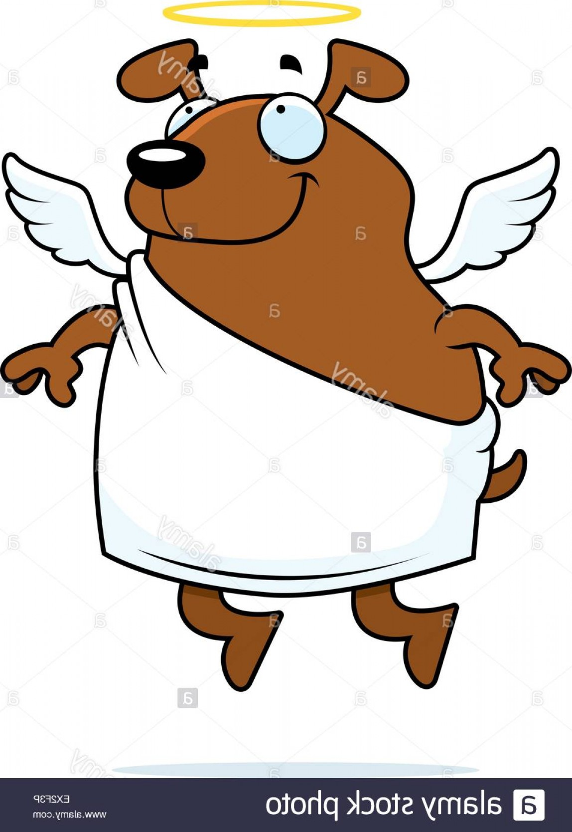 Vector Of Angel Art Dog: Stock Photo A Happy Cartoon Dog Angel With Wings And A Halo
