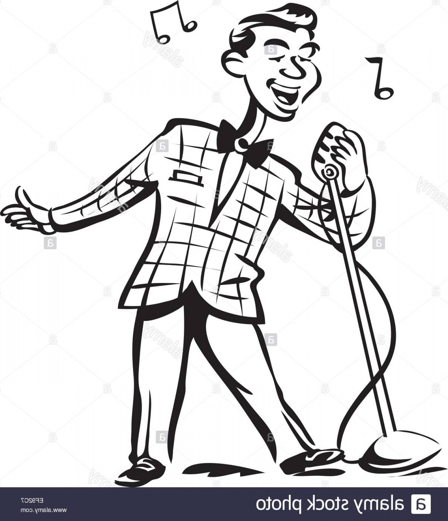 Singers Vector Art: Stock Photo A Man Singing Into A Microphone
