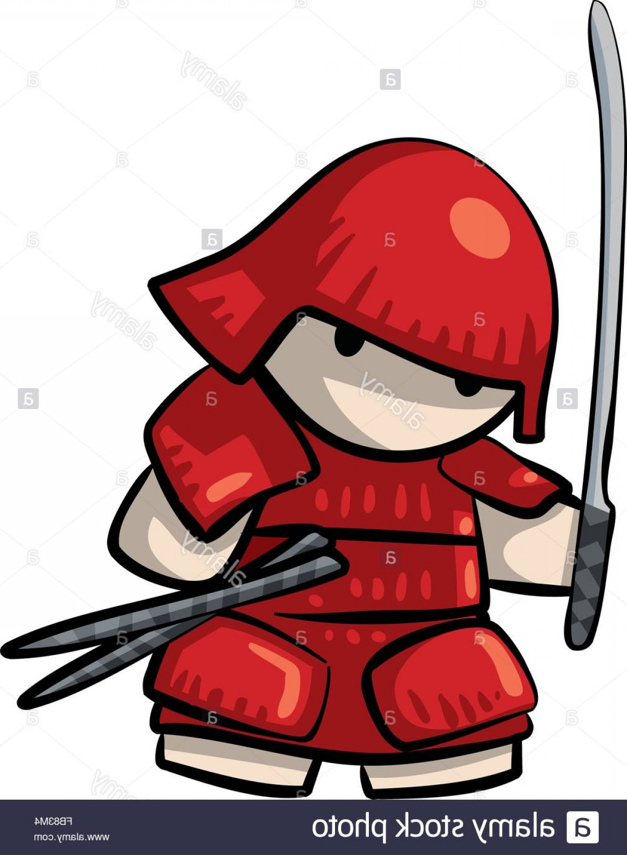 Red Samurai Vector: Stock Photo A Red Samurai Warrior