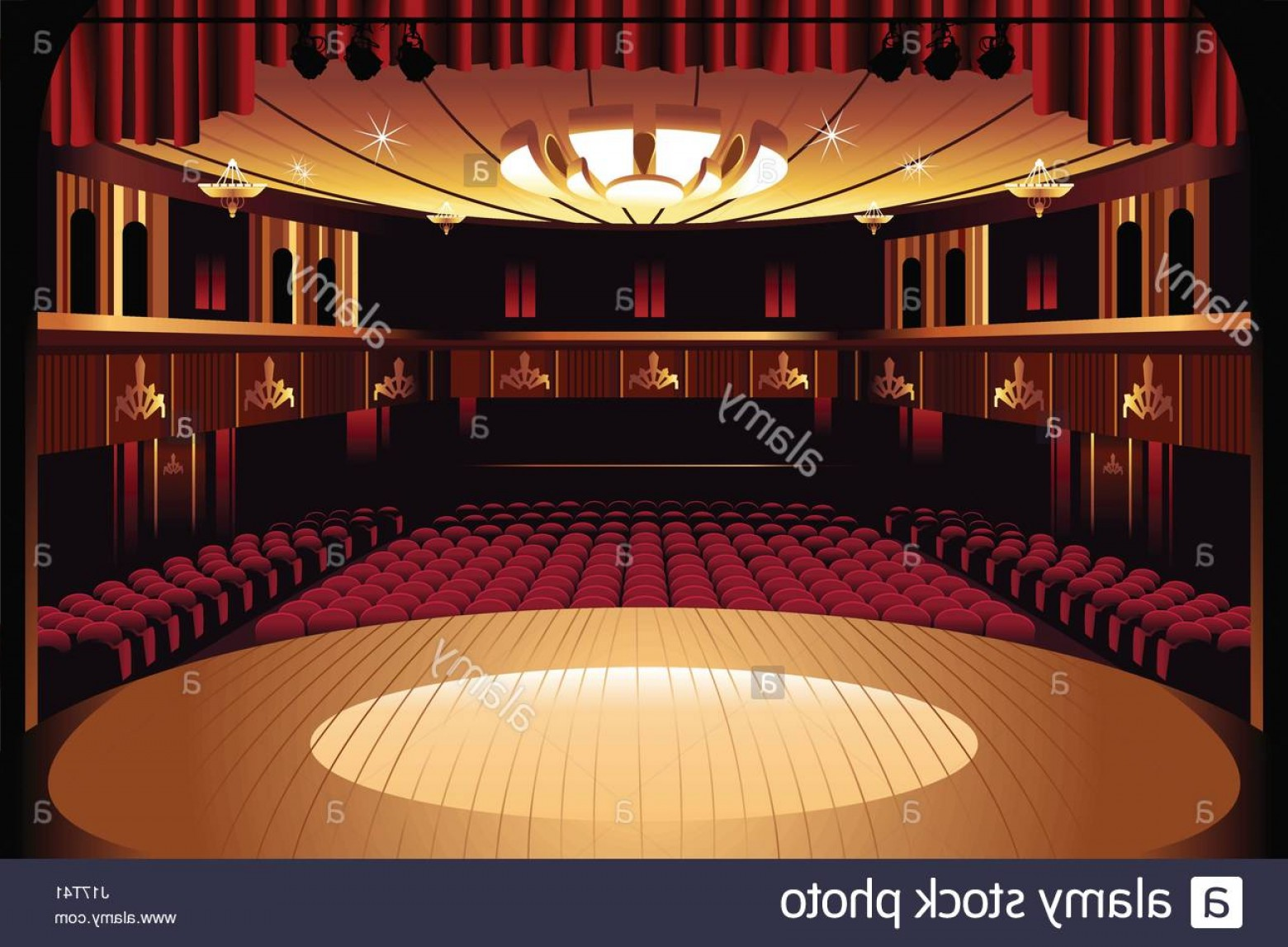Vector Stage Audience: Stock Photo A Vector Illustration Of Empty Theater Stage