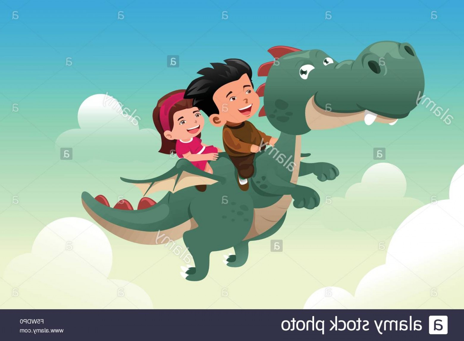 Riding A Dragon Art Vector Clip Art: Stock Photo A Vector Illustration Of Happy Kids Riding On A Cute Dragon