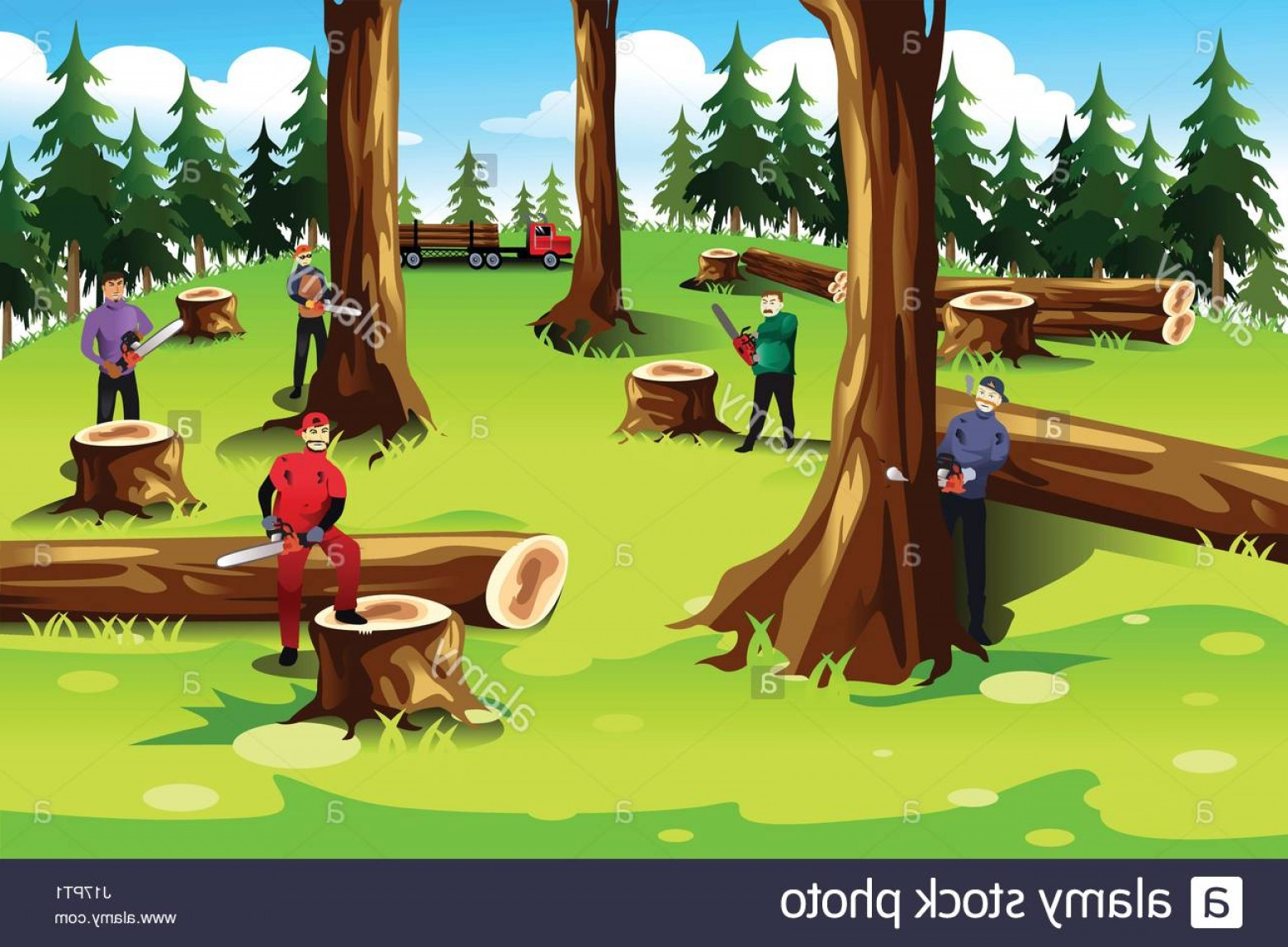 Wood Cutting Vector: Stock Photo A Vector Illustration Of People Cutting Down And Exploiting Trees