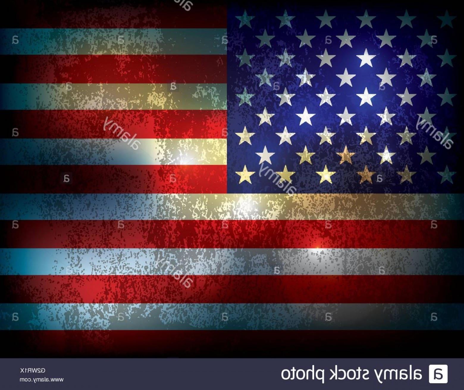 Rustic American Flag Vector: Stock Photo A Vintage Grunge Distressed American Flag Illustration Background