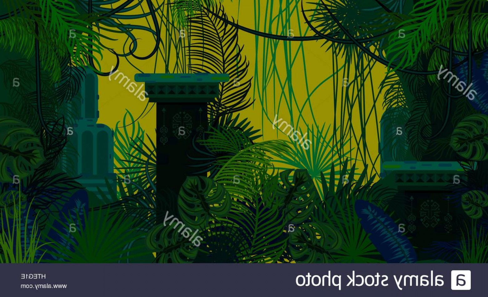Ancient Jungle Statue Vector Images: Stock Photo Abandoned Ancient Jungle Nature Background Dark Green And Blue Palm