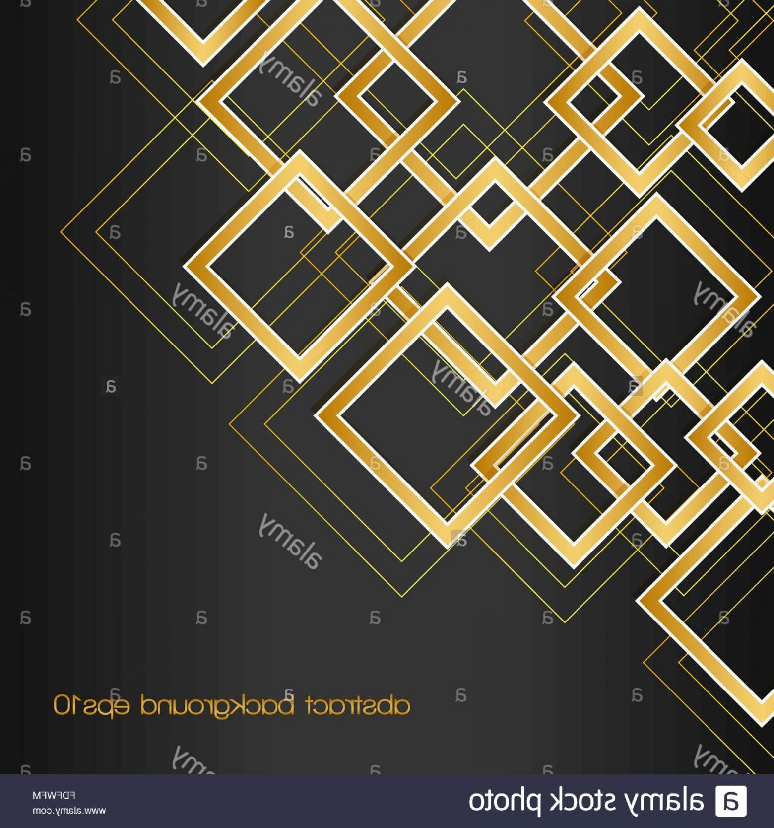 Black Abstract Lines Vector: Stock Photo Abstract Background With Golden Rhombus Frames And Lines On Black