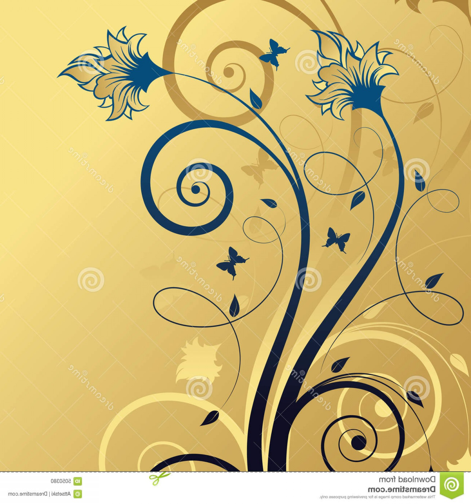 Gold And Blue Flower Vector: Stock Photo Abstract Gold Blue Floral Background Image