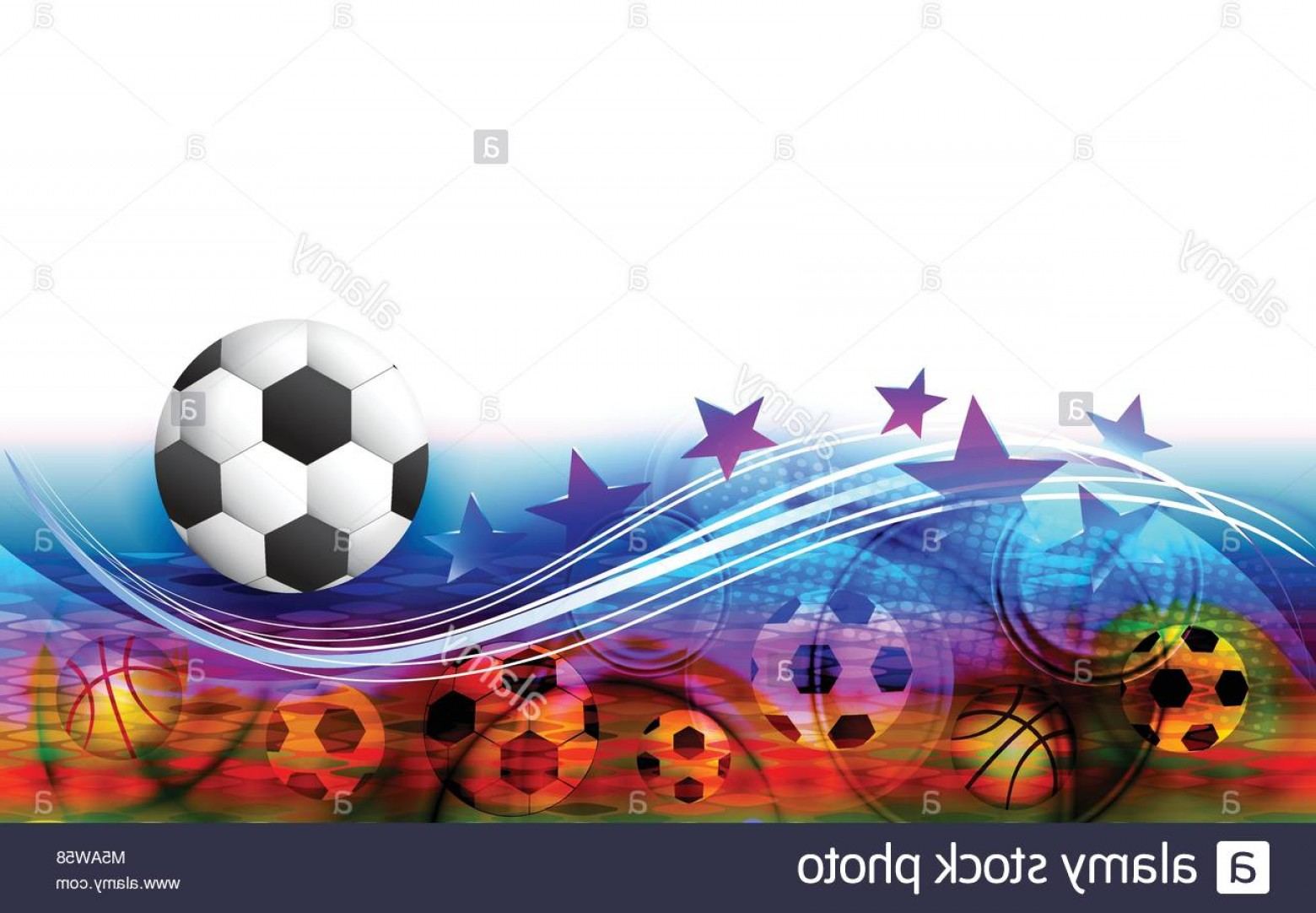 Soccer Blue Background Vector Graphics: Stock Photo Abstract Sports Background With Soccer Ball Football Field