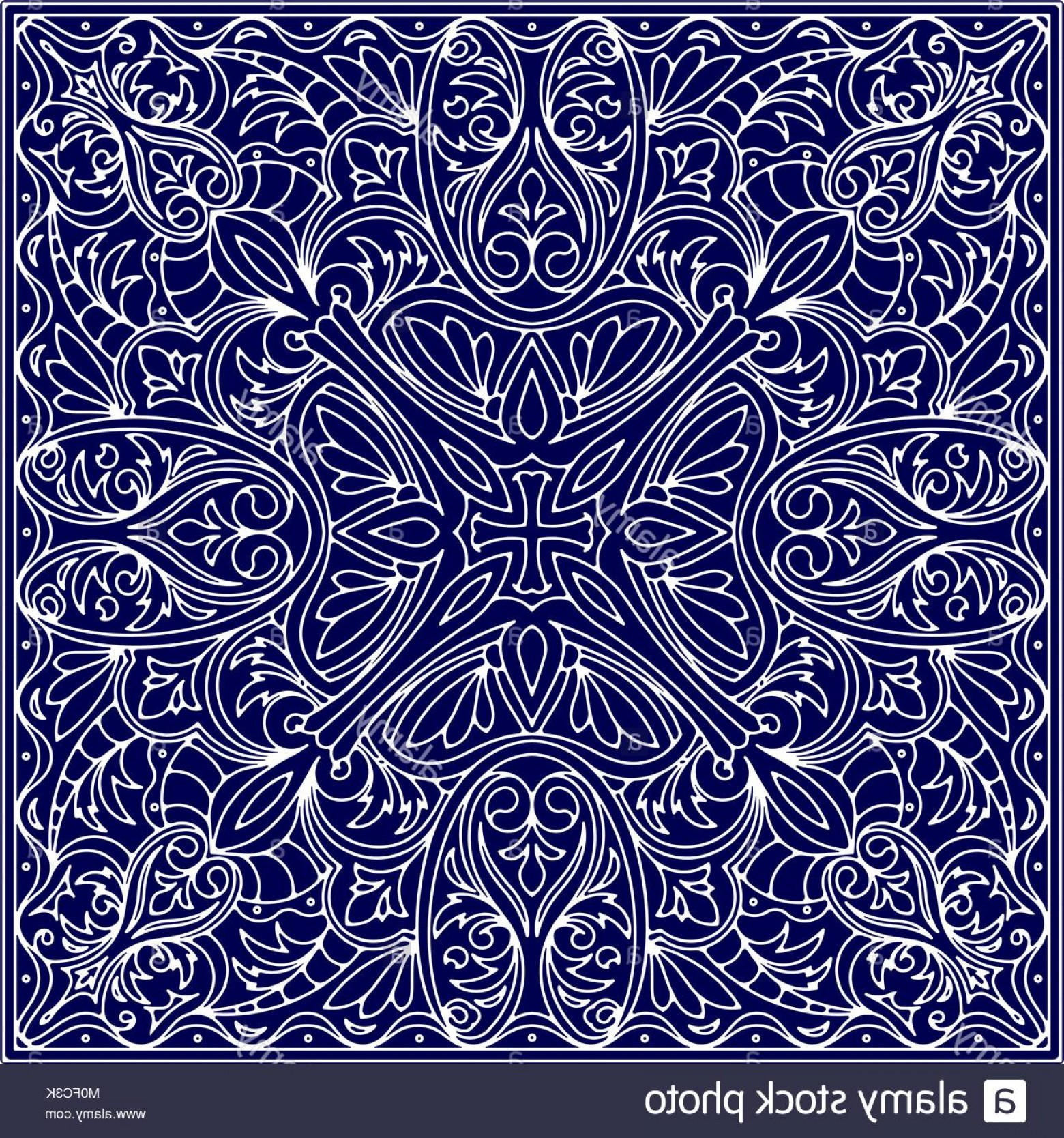 Tulle Black Lace Pattern Vector: Stock Photo Abstract Vector Square Lace Design In Blue Color Background Decorative