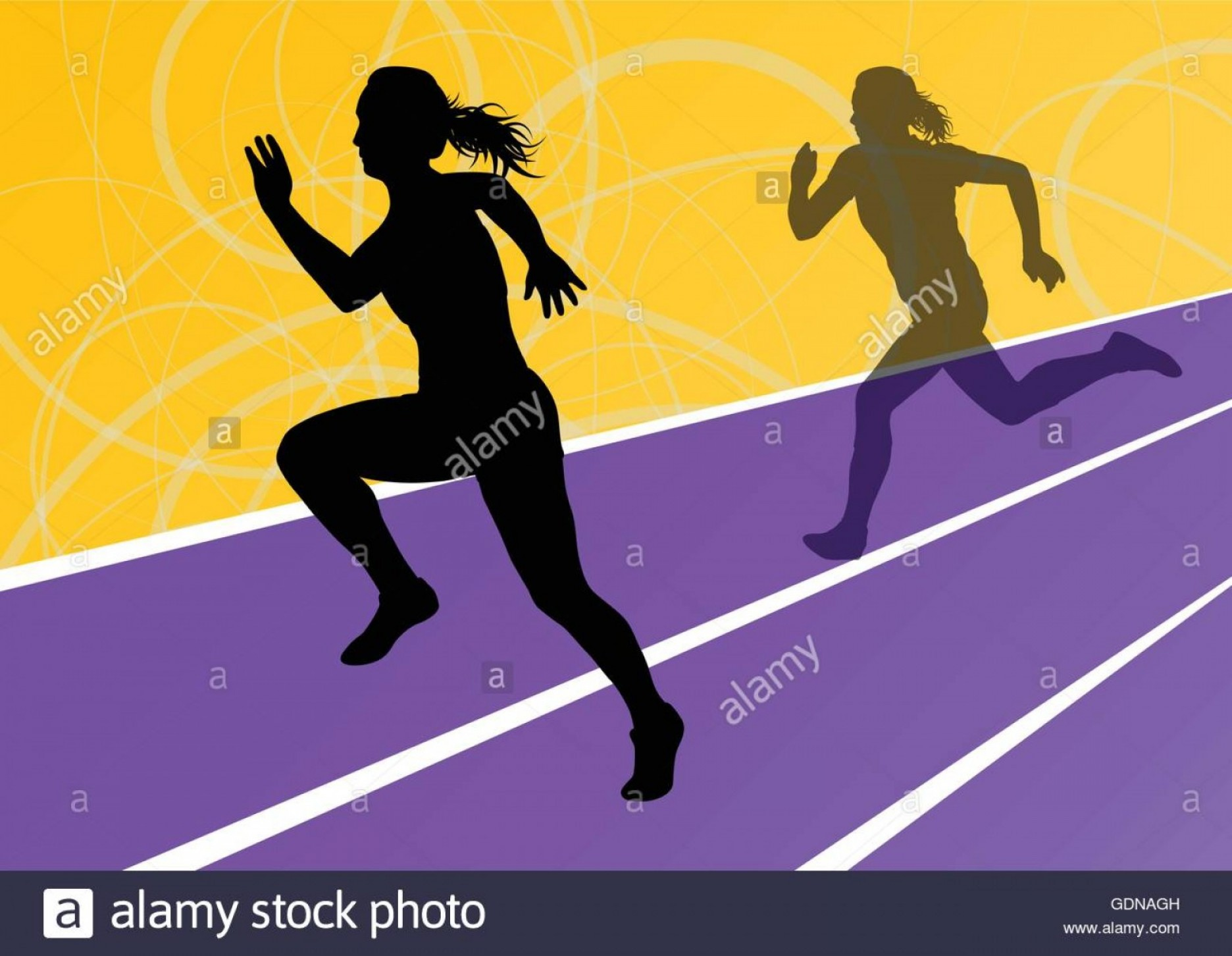 Vector Silhouette Of Girl Running Track: Stock Photo Active Women Sport Athletics Running Silhouettes Illustration Abstract
