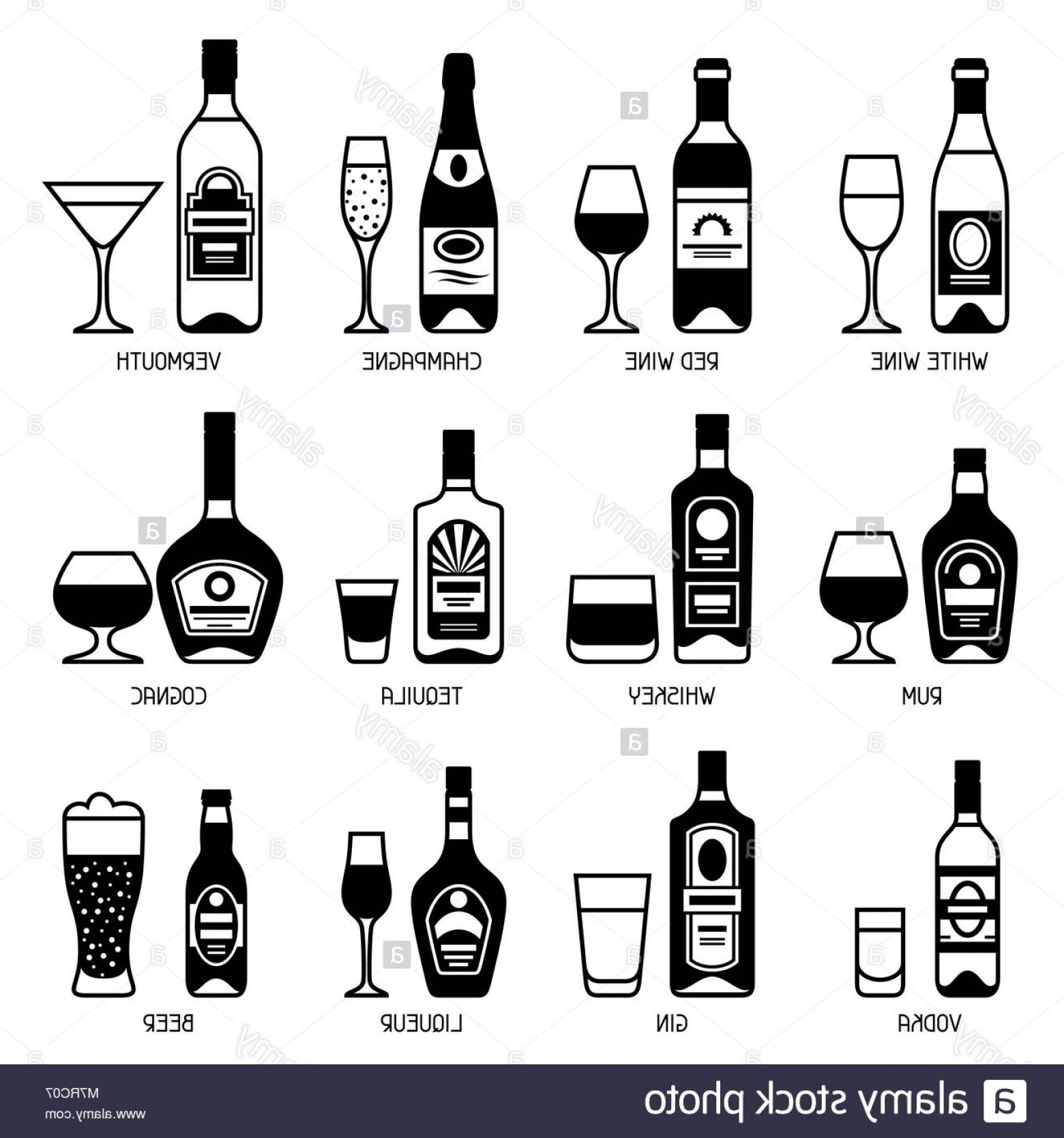 Booze Bottle Vector: Stock Photo Alcohol Drinks Icon Set Bottles Glasses For Restaurants And Bars