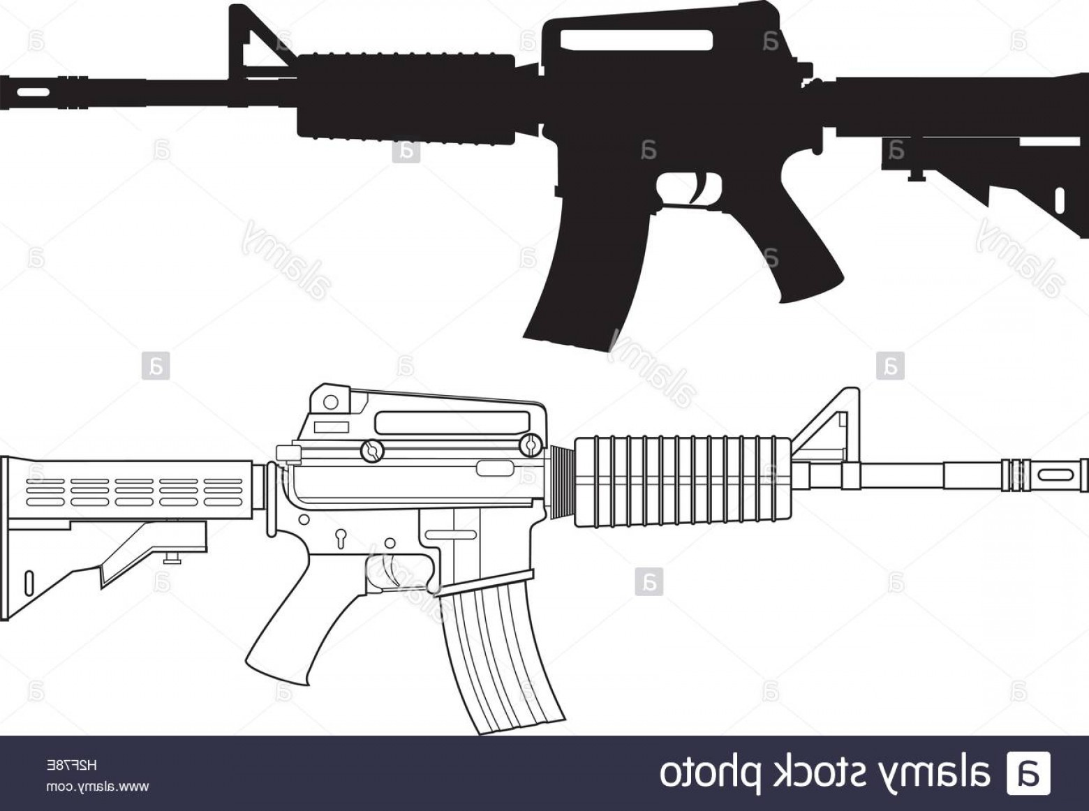 American Gun Vector: Stock Photo American Assault Gun