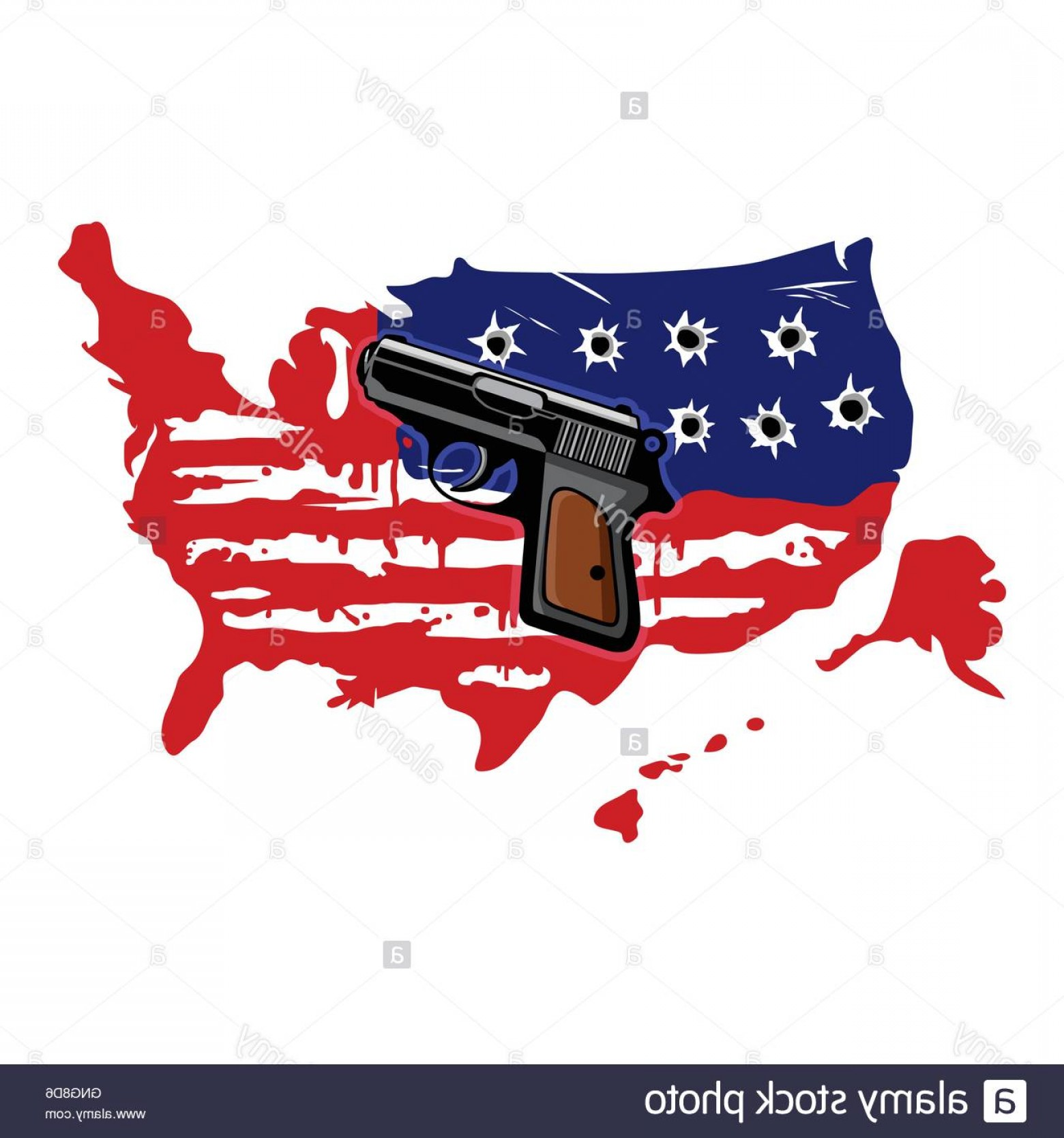 American Gun Vector: Stock Photo American Flag With Bullet Holes And Gun Vector