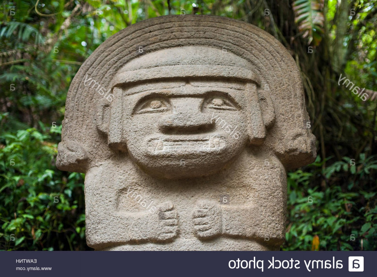 Ancient Jungle Statue Vector Images: Stock Photo An Ancient Pre Columbia Stone Carving In The Jungle At San Agustin