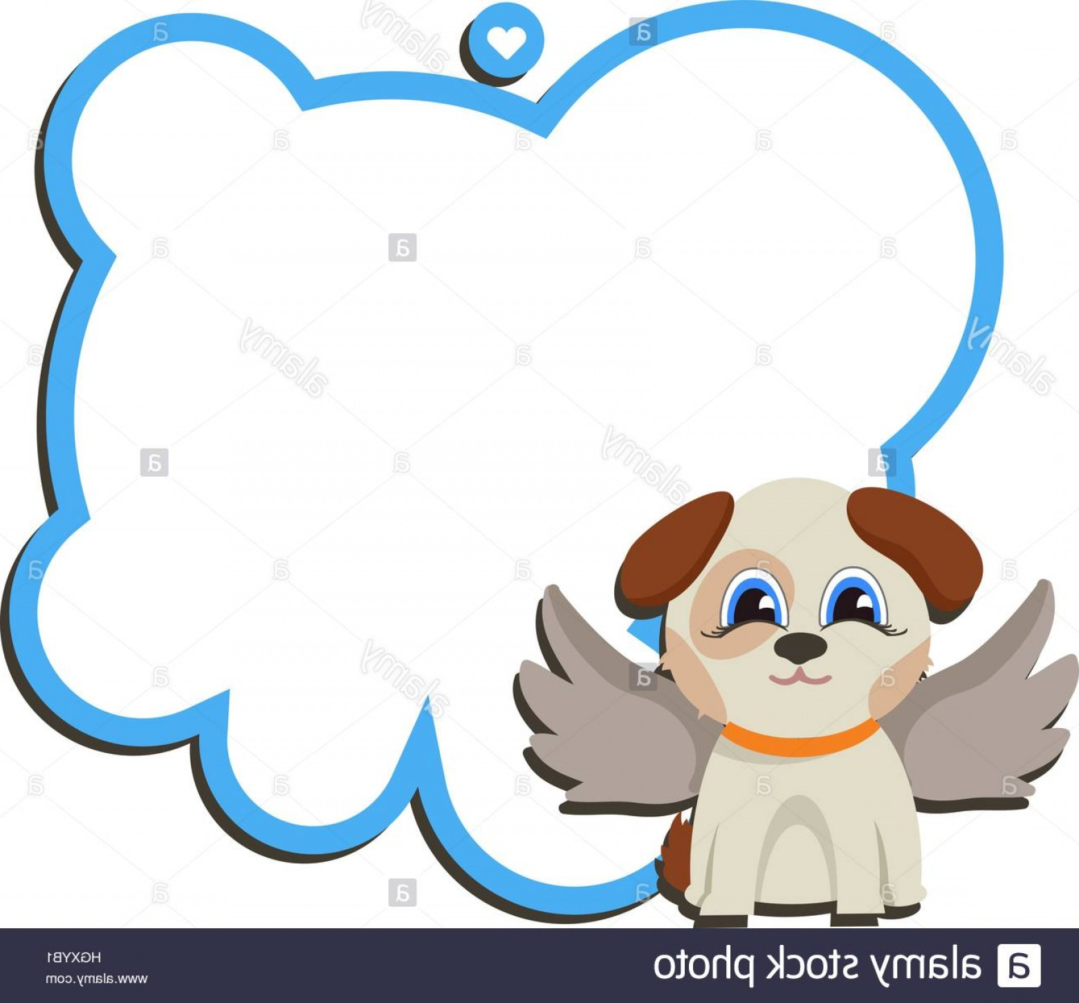 Vector Of Angel Art Dog: Stock Photo Angel Dog With Board And A Wish Valentine Message