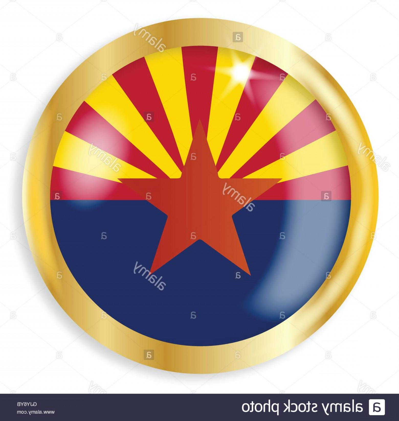 Arizona Flag Vector: Stock Photo Arizona Flag Button