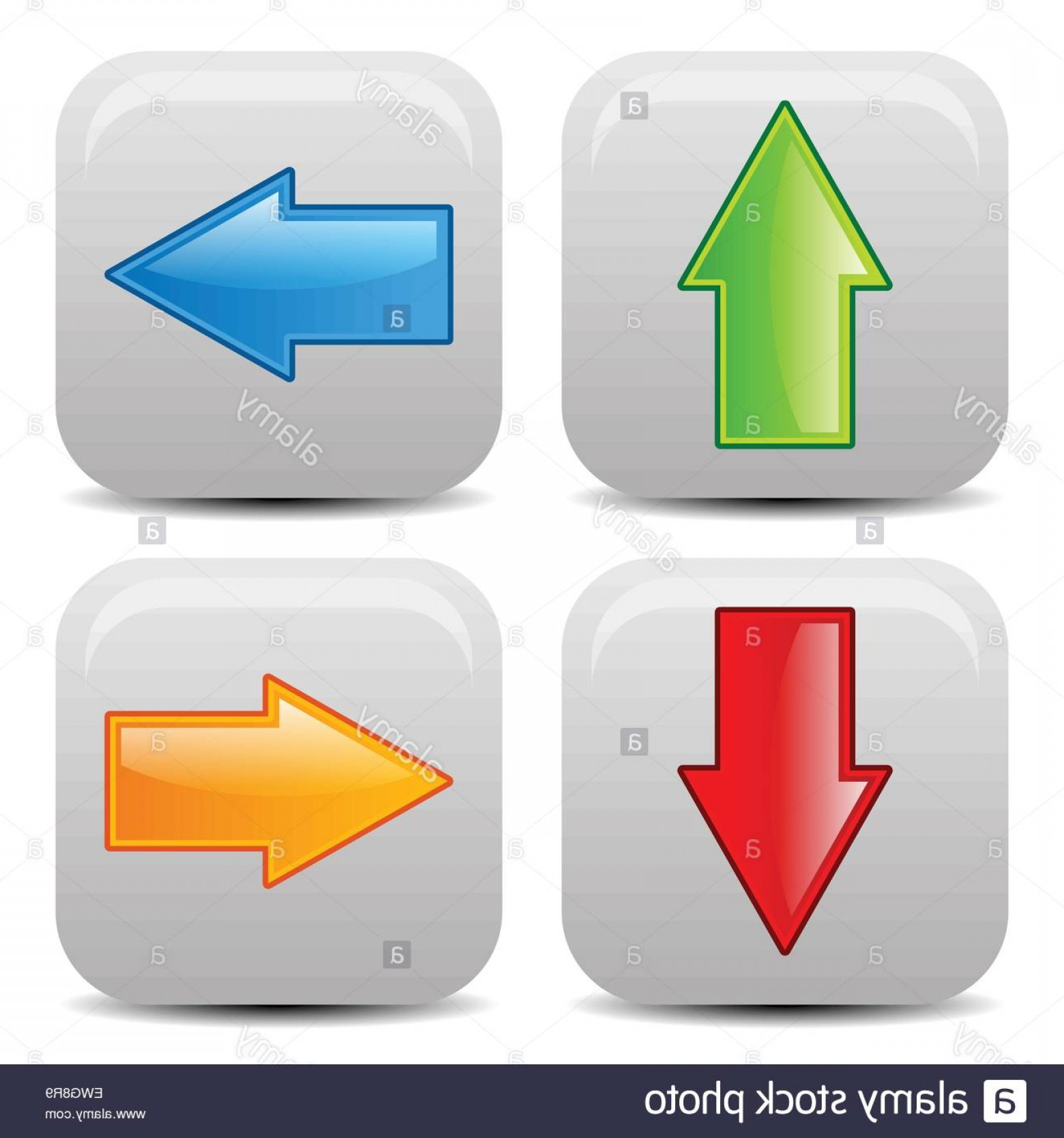 Up And Right Arrows Vector: Stock Photo Arrow Icons In All Direction Up Down Left Right Arrows