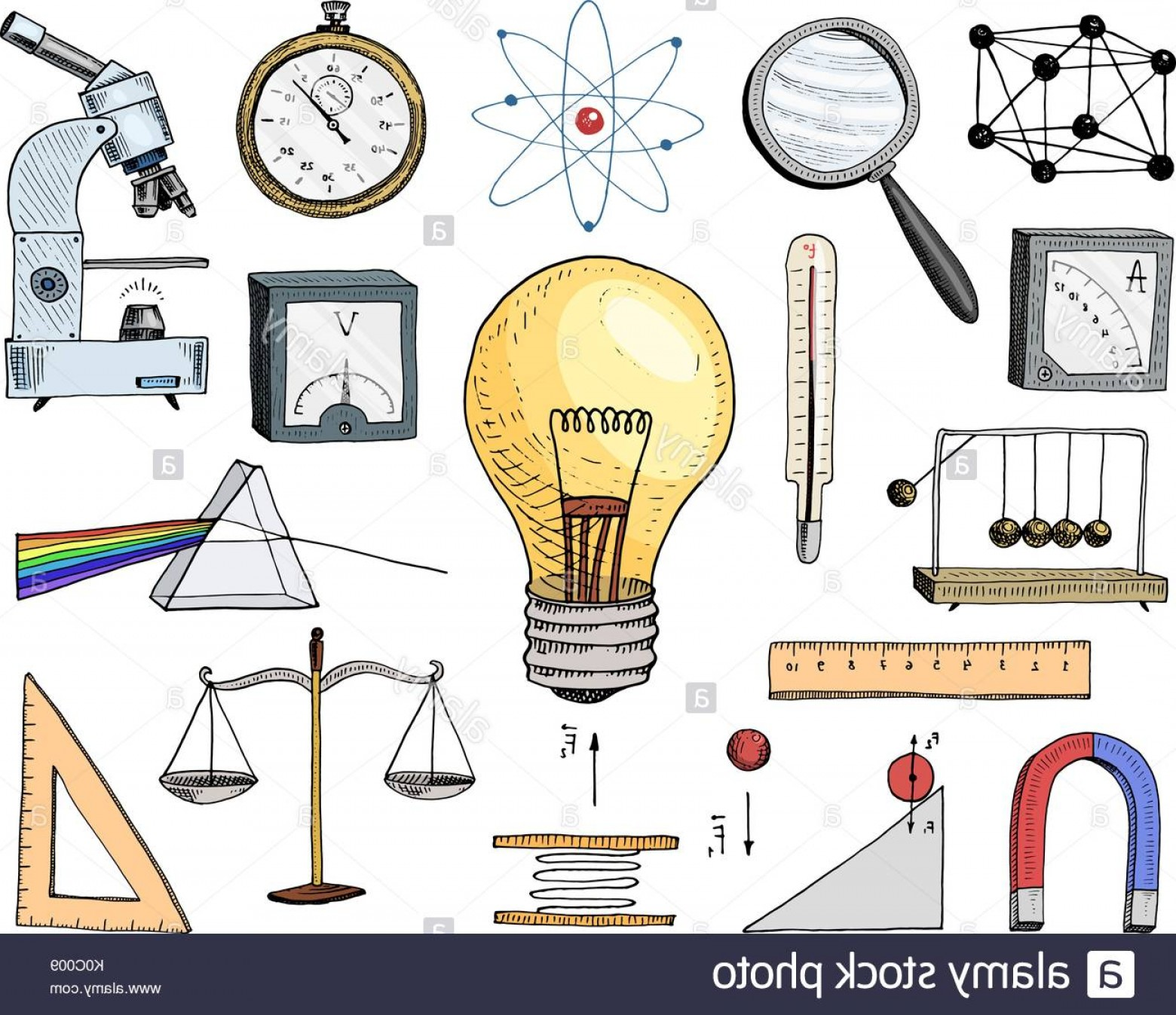 Graphing Vectors Physics: Stock Photo Atom And Voltmeter With Perpetual Motion Circuit And Graph Engraved