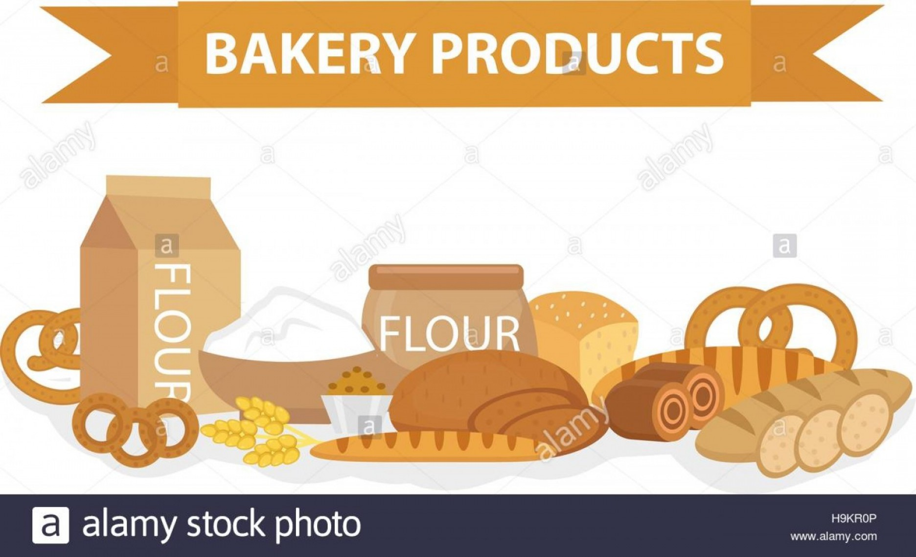 Bread Of Life Vector Art: Stock Photo Bakery Products Still Life Flat Style Set Of Different Bread Banner