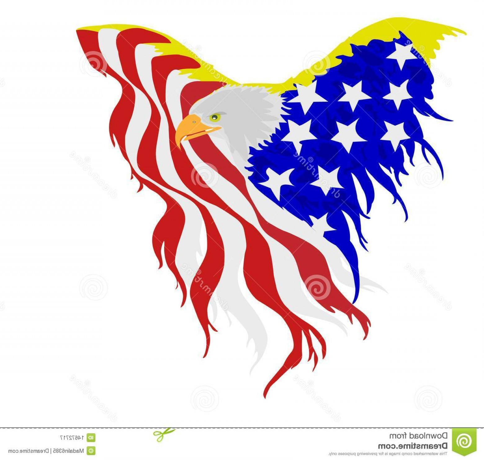 Patriotic Bald Eagle Vector: Stock Photo Bald Eagle American Flag Vector Image
