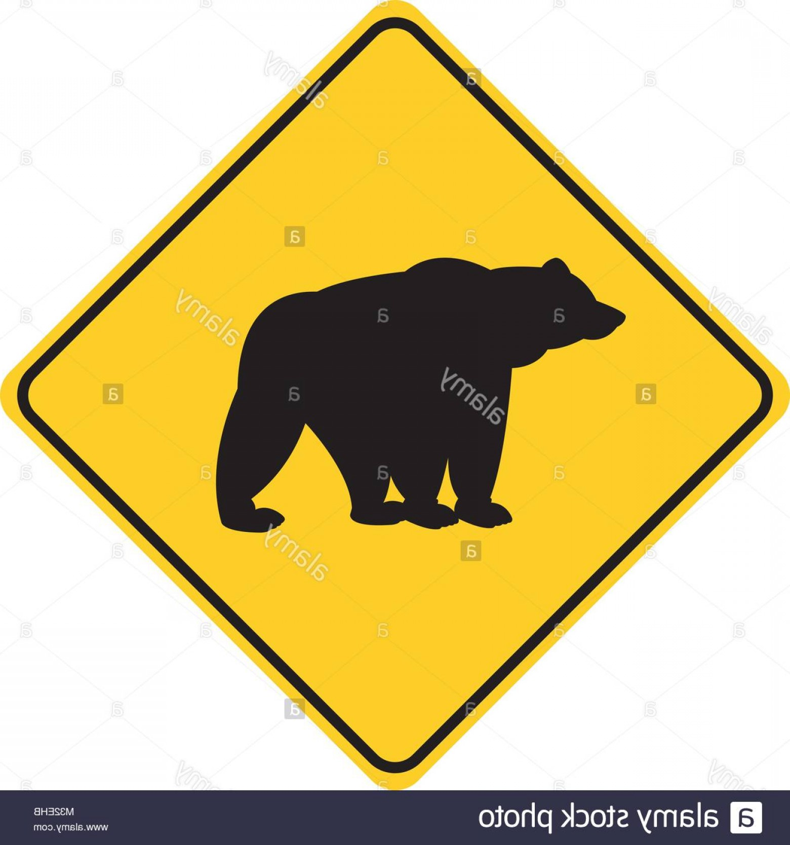 Road Sign Silhouette Vector Bear: Stock Photo Bear Silhouette Animal Traffic Sign Yellow Vector Illustration