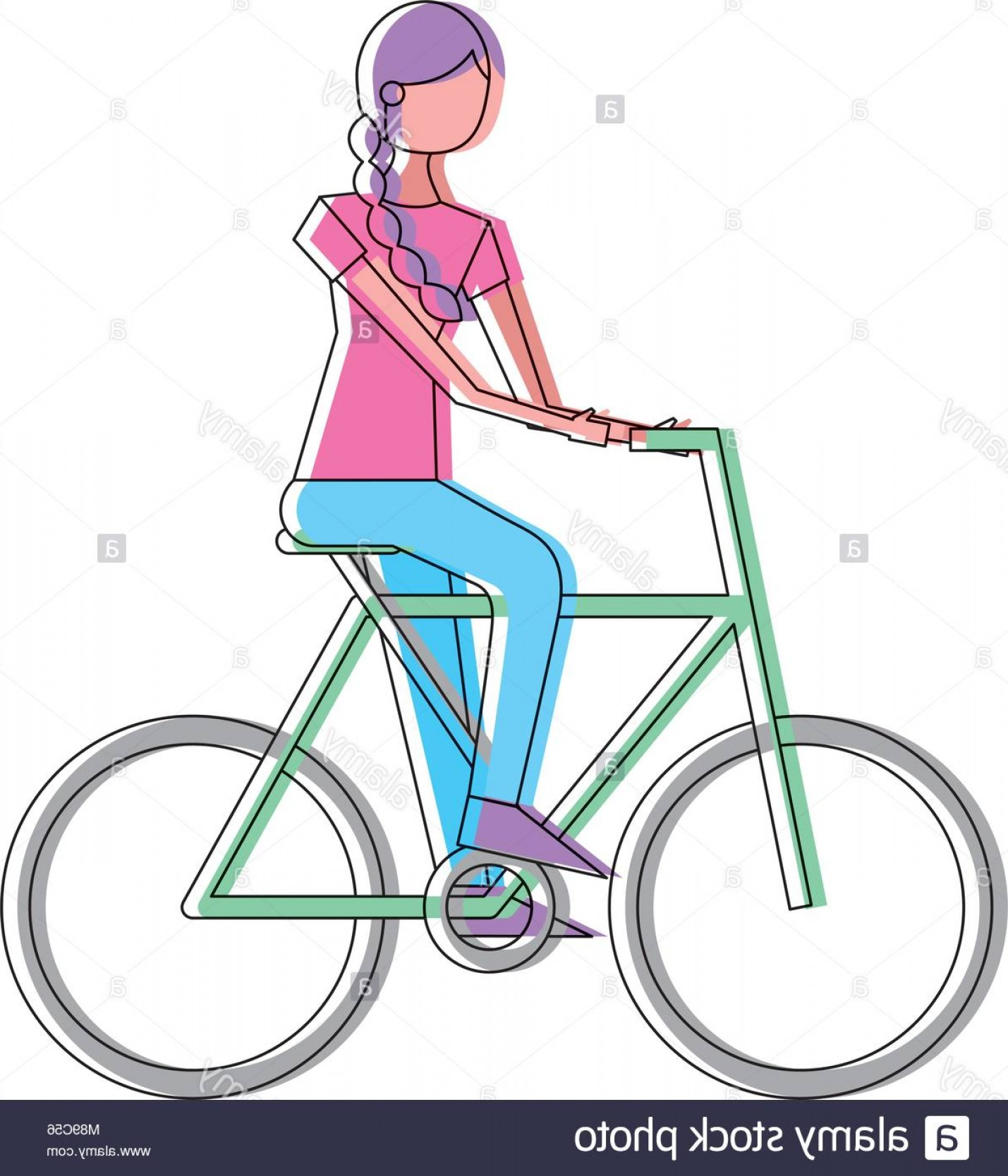 Beautiful Bicycle Vector: Stock Photo Beautiful Young Happy Woman Riding In Bicycle Vector Illustration