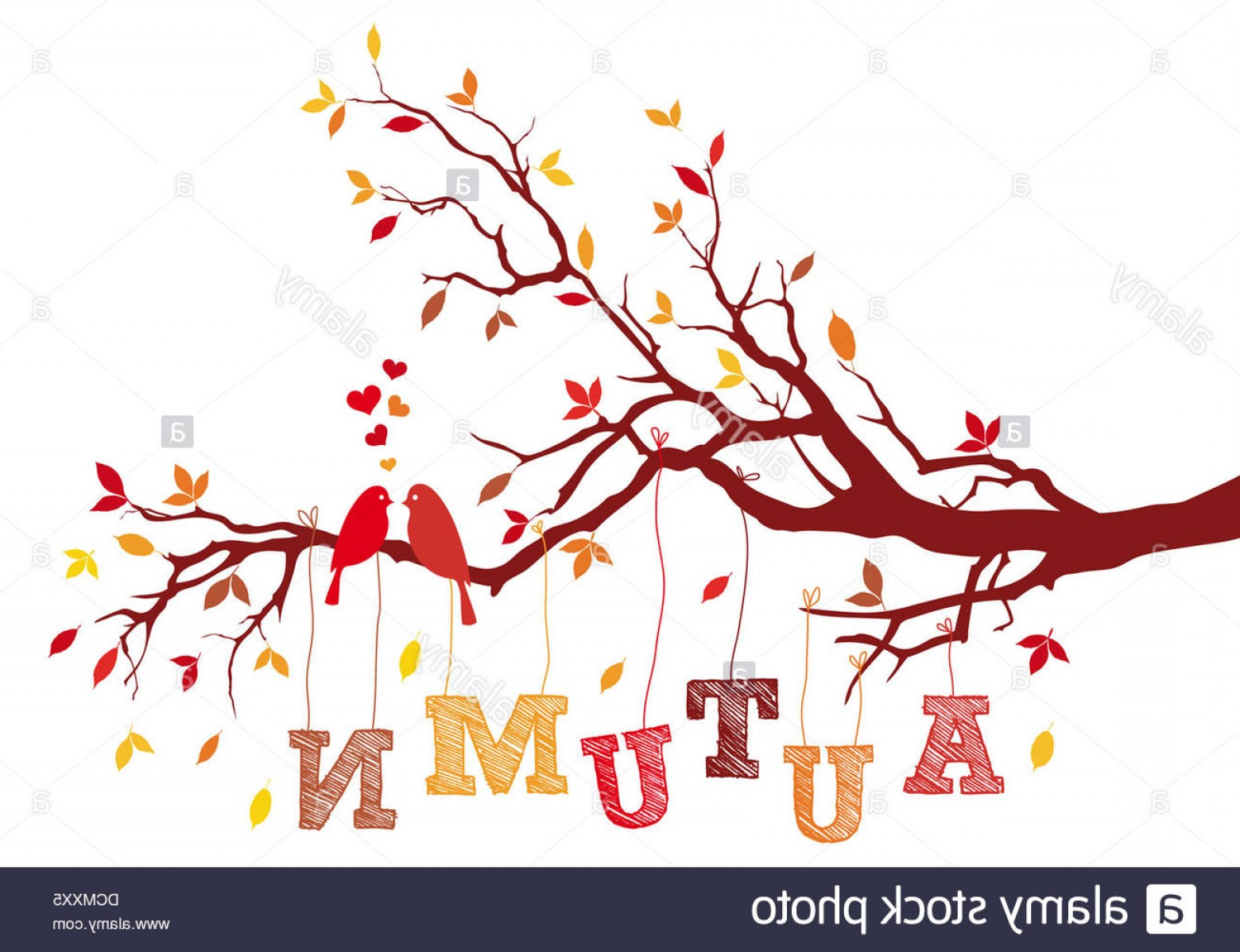 Tree Branch Vector Background: Stock Photo Birds On Autumn Tree Branch With Falling Leaves Vector Background