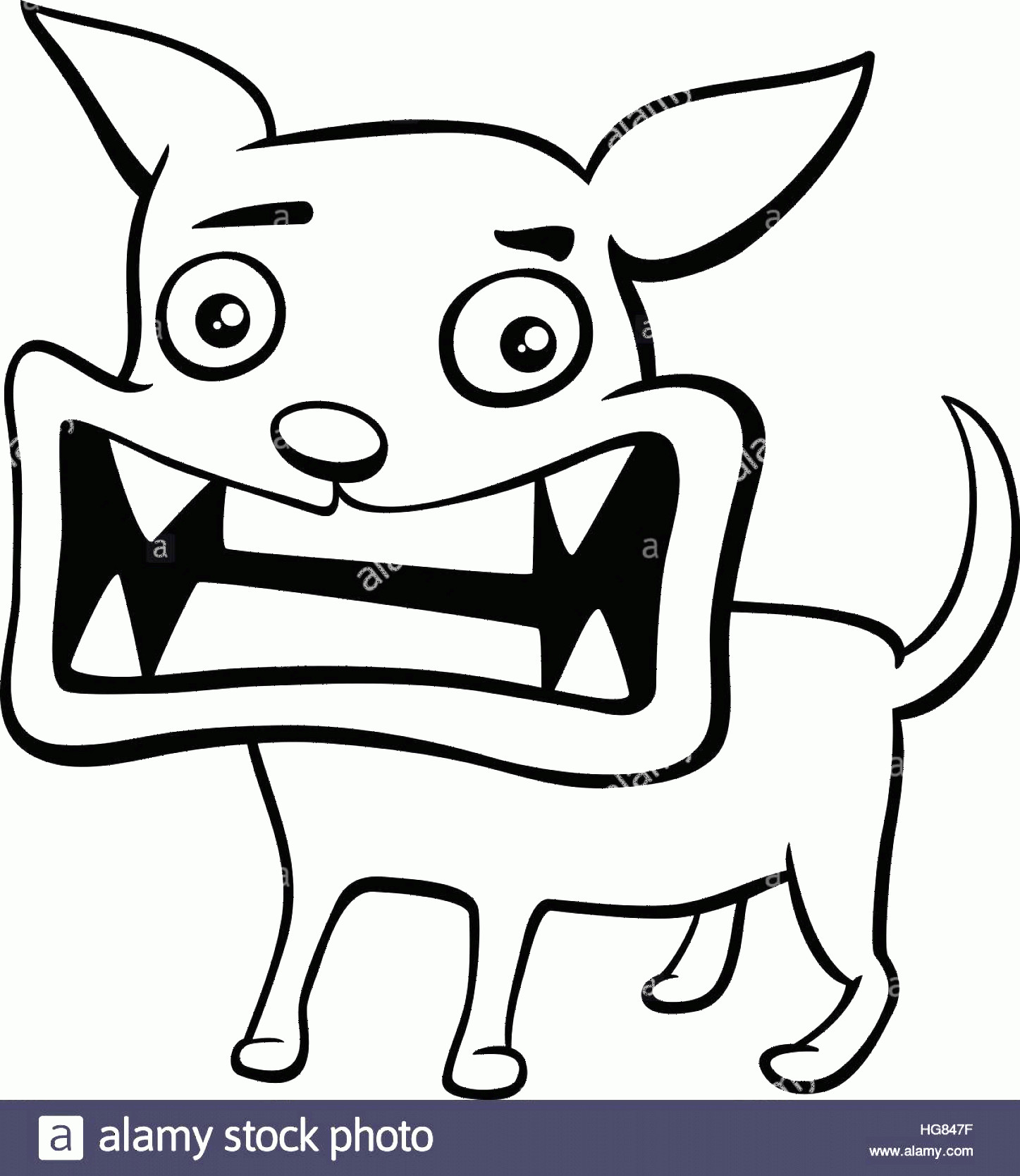 Angry Dog Vector Black And White: Stock Photo Black And White Cartoon Illustration Of Angry Dog Or Puppy Animal