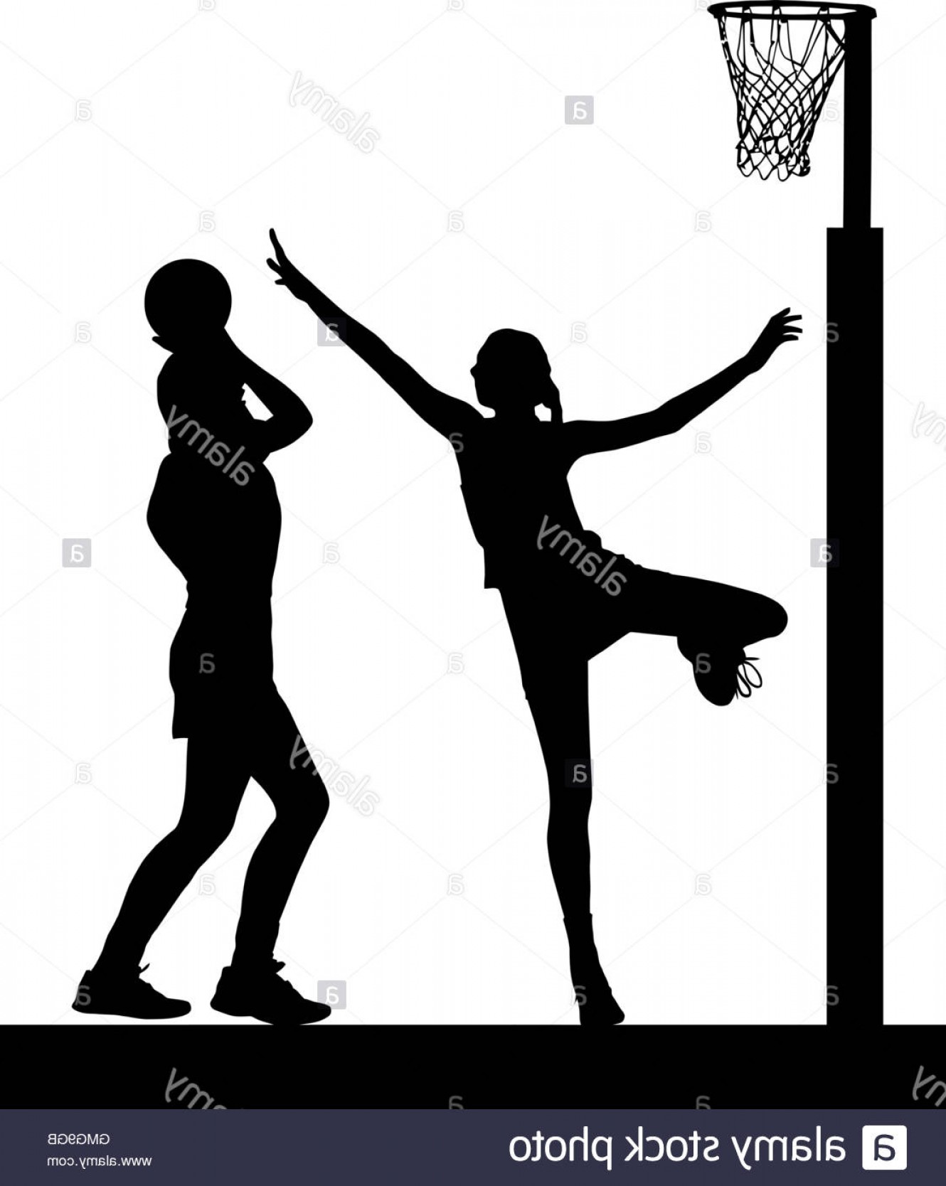 Volleyball Vector Dog Lady: Stock Photo Black On White Silhouette Of Girls Ladies Netball Players Jumping