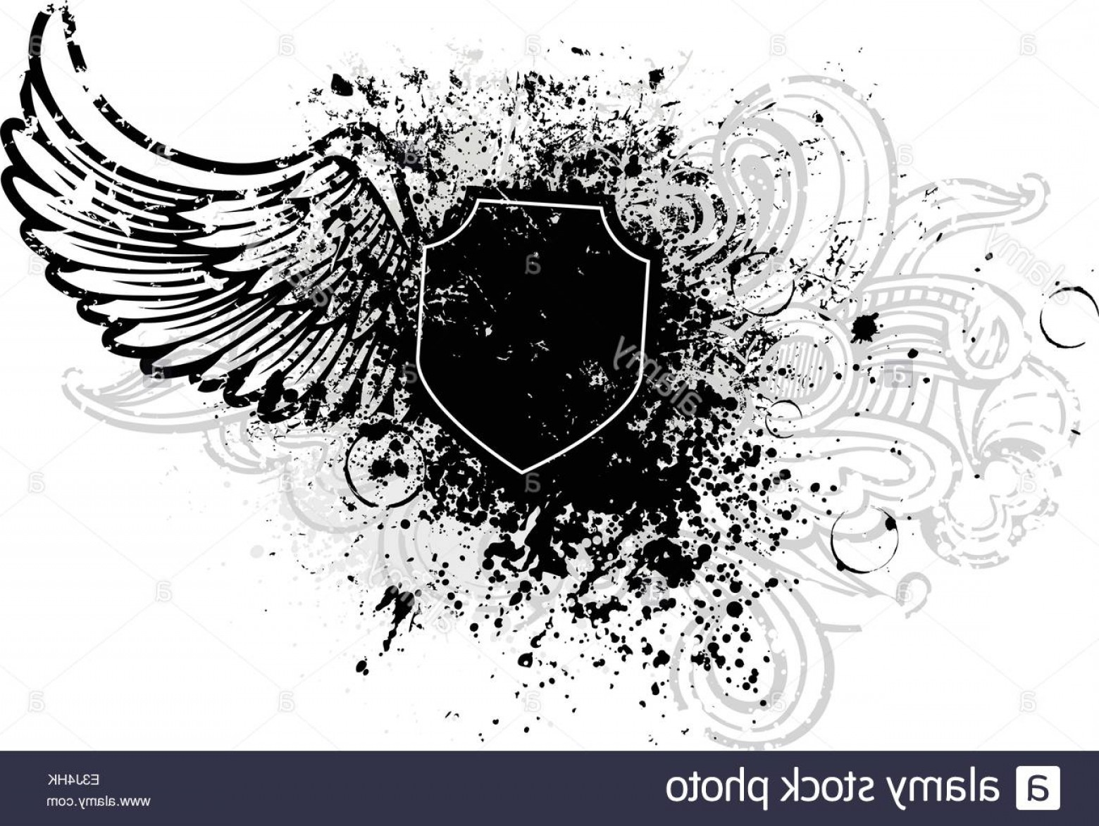 Grunge Scroll Vector Design: Stock Photo Black Shield And Wing Design With Grunge Paint Splatter
