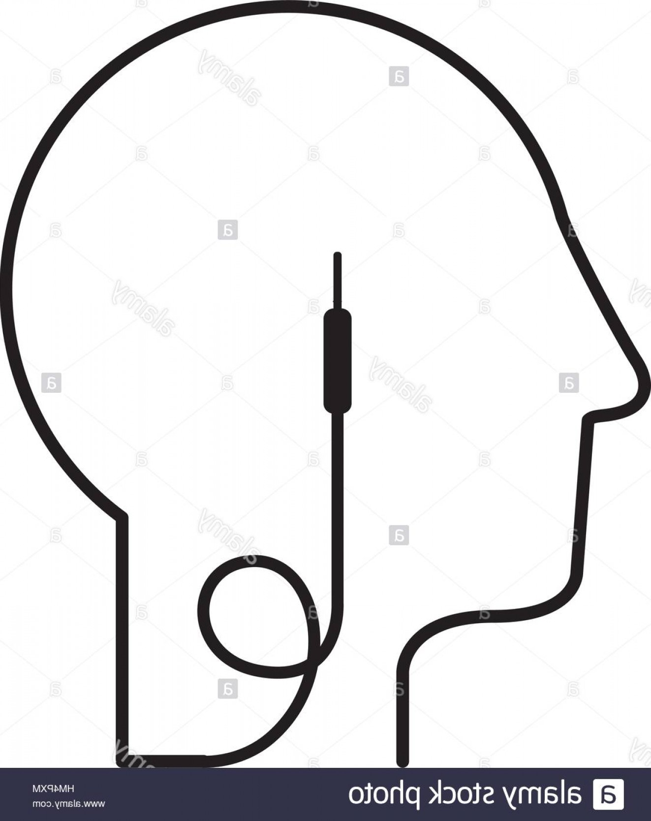 Vector Connector: Stock Photo Black Silhouette Head With Jack Connector Vector Illustration