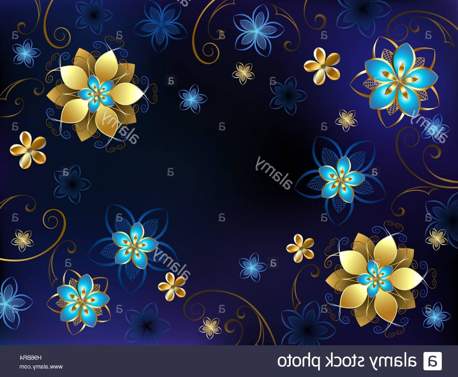 Gold And Blue Flower Vector: Stock Photo Blue Background With Gold Jewelry And Blue Flowers