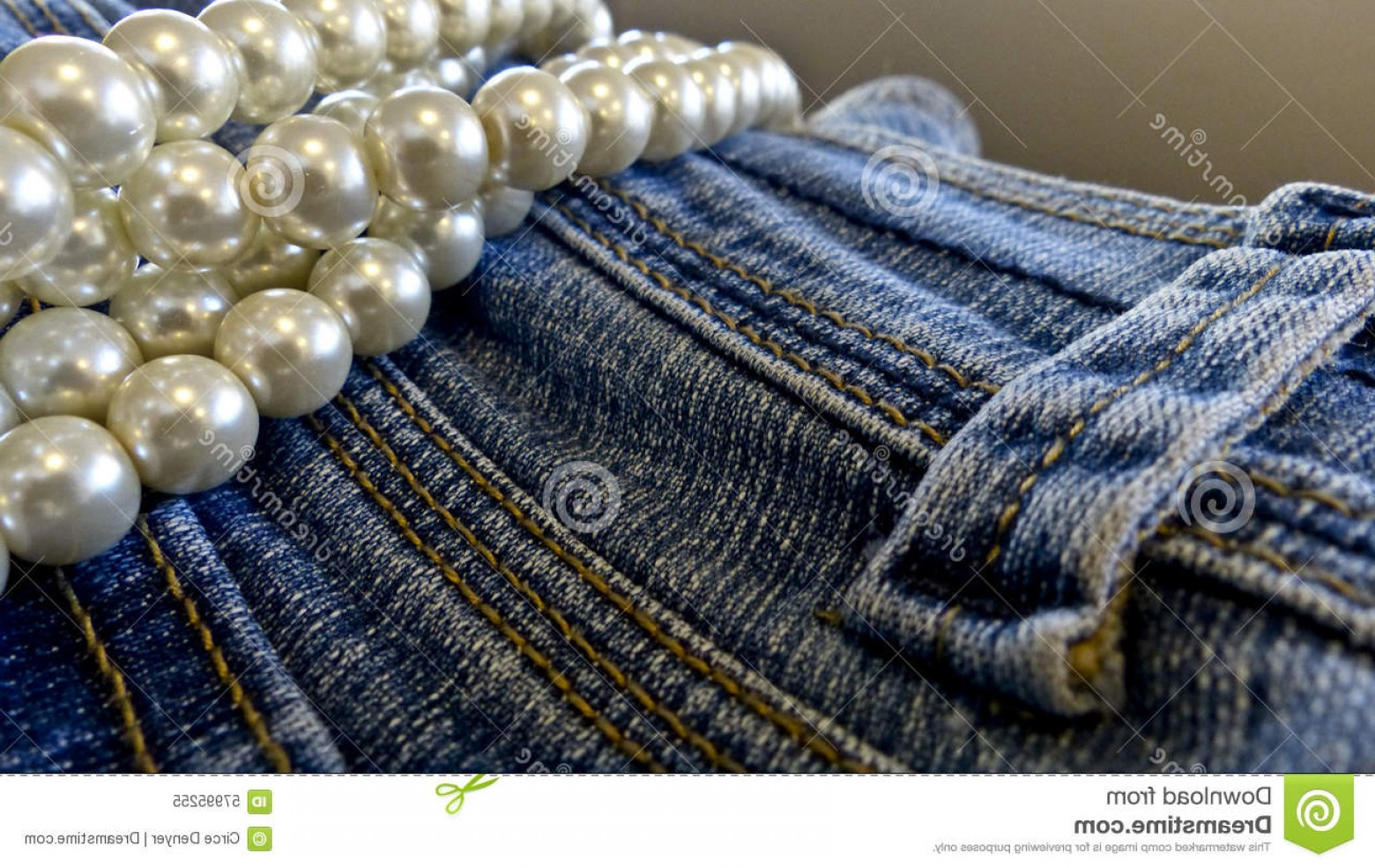 Denim And Pearls Vector: Stock Photo Blue Jeans Pearls Opposites Attract Fashion Laying Pair View Image
