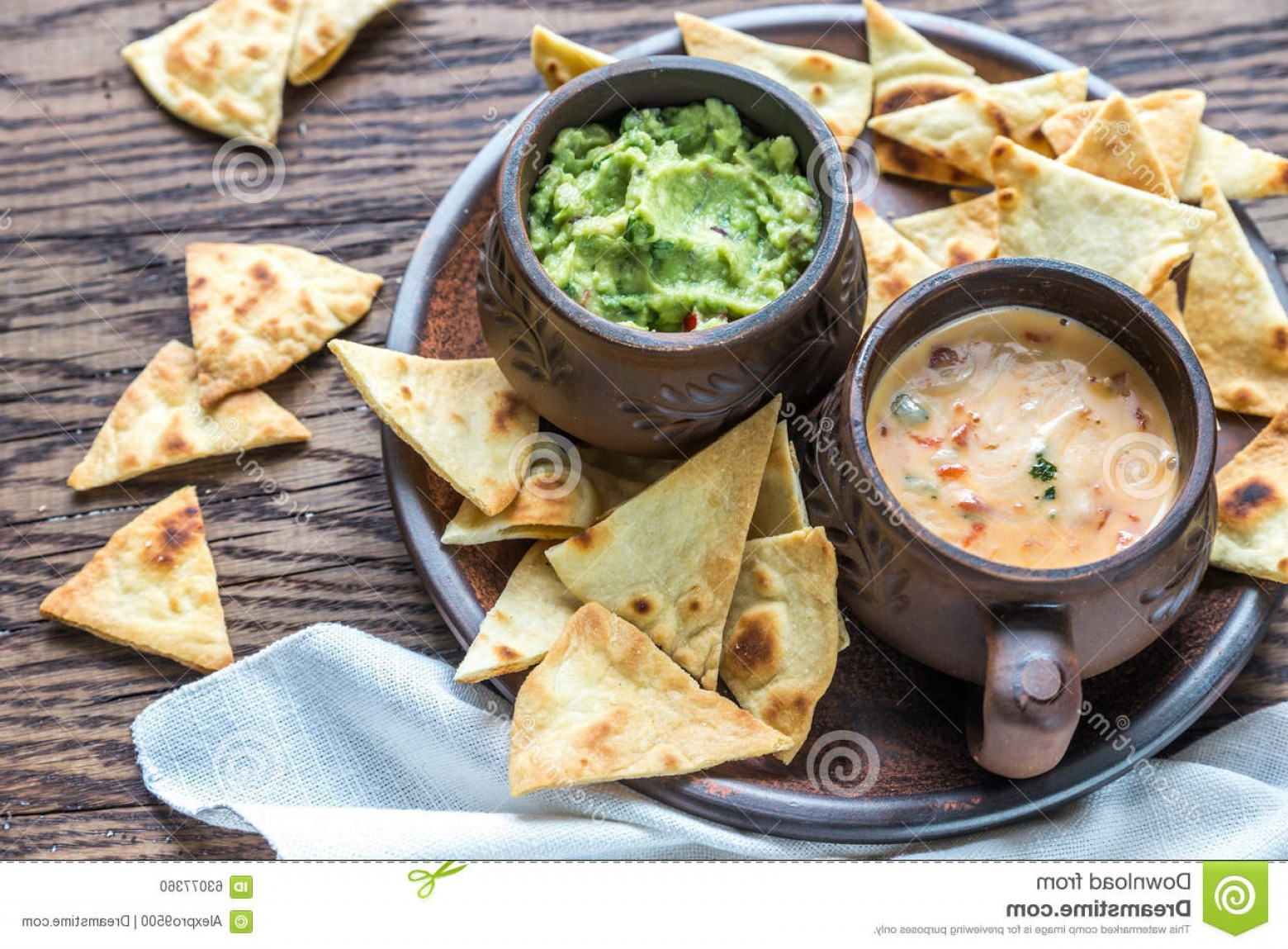 Chips Queso Vector: Stock Photo Bowls Guacamole Queso Tortilla Chips Wooden Table Image