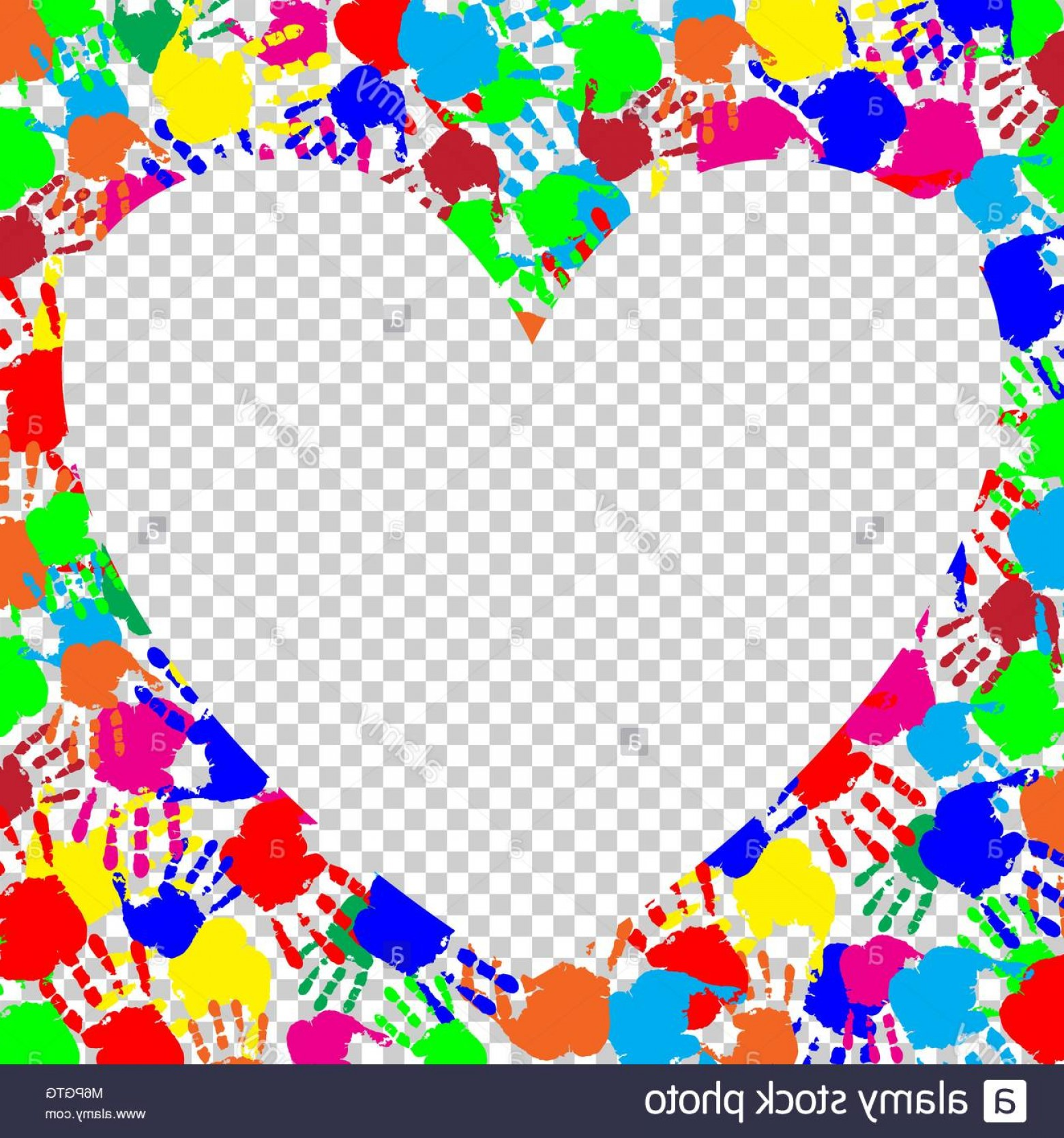 Hand Prints Vector Transparent Background: Stock Photo Bright Rainbow Heart Frame With Empty Space For Text Or Image And